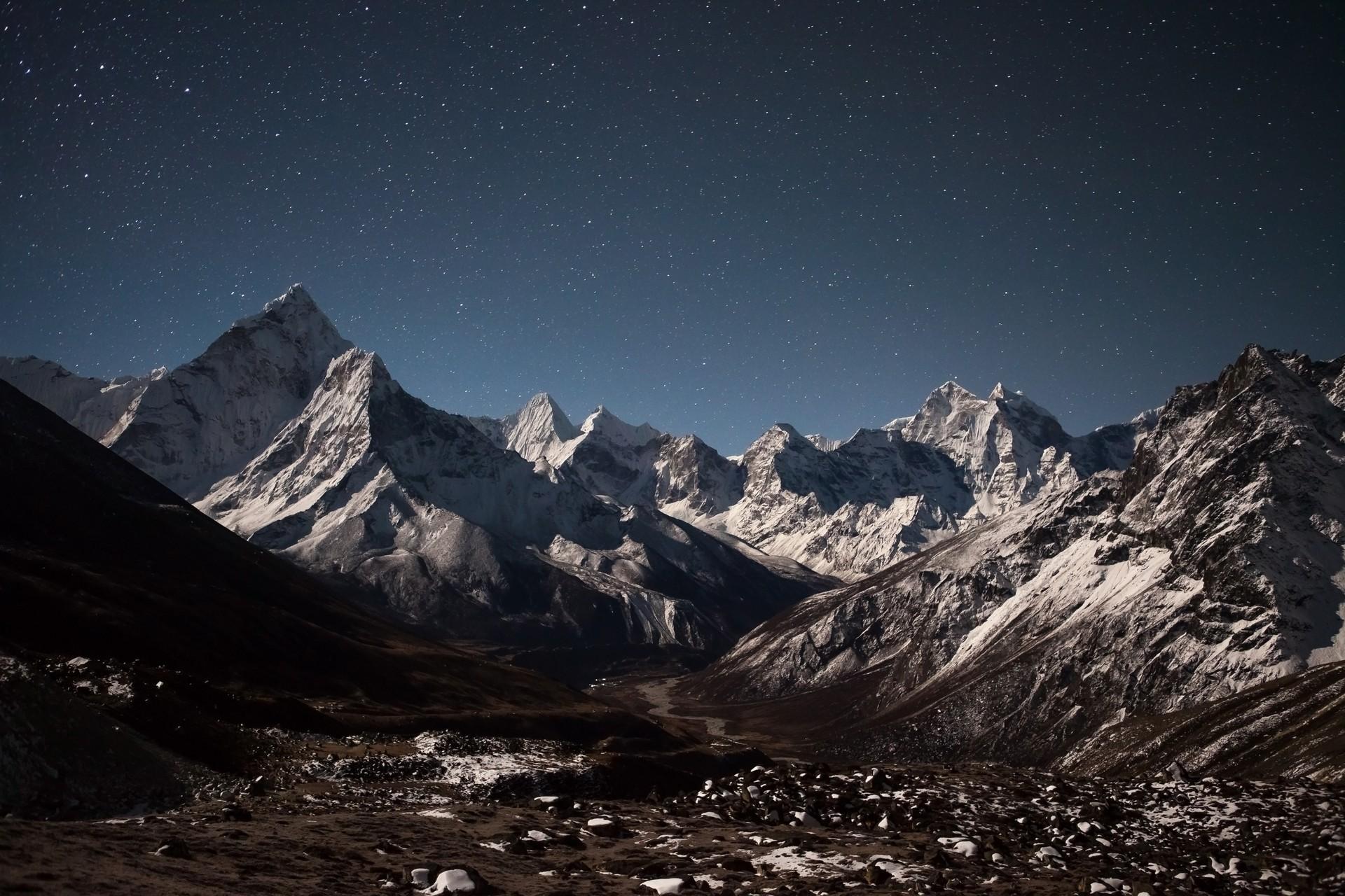 The starry night sky over Sagarmatha National Park, Nepal
