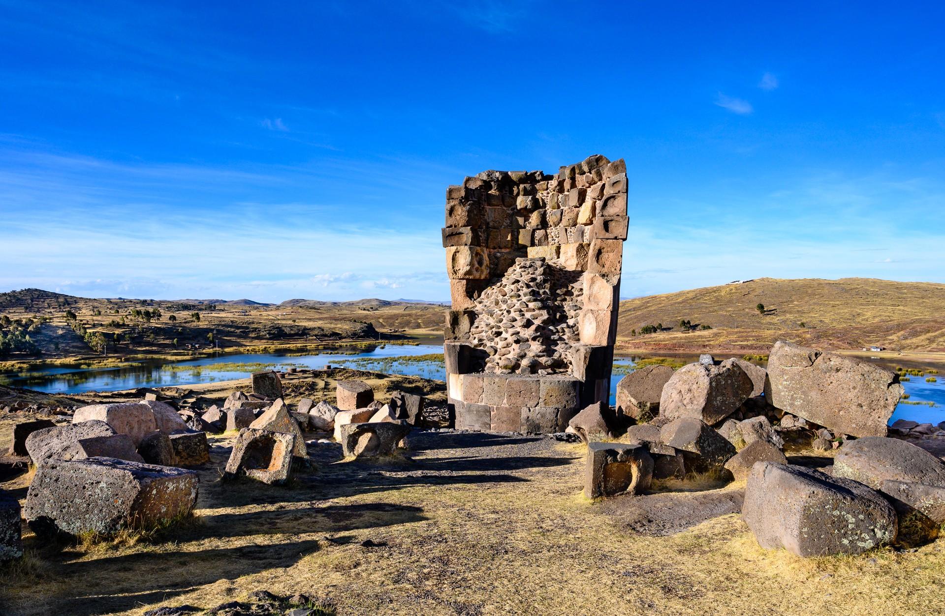 The pre-Inca Sillustani burial ground in Peru