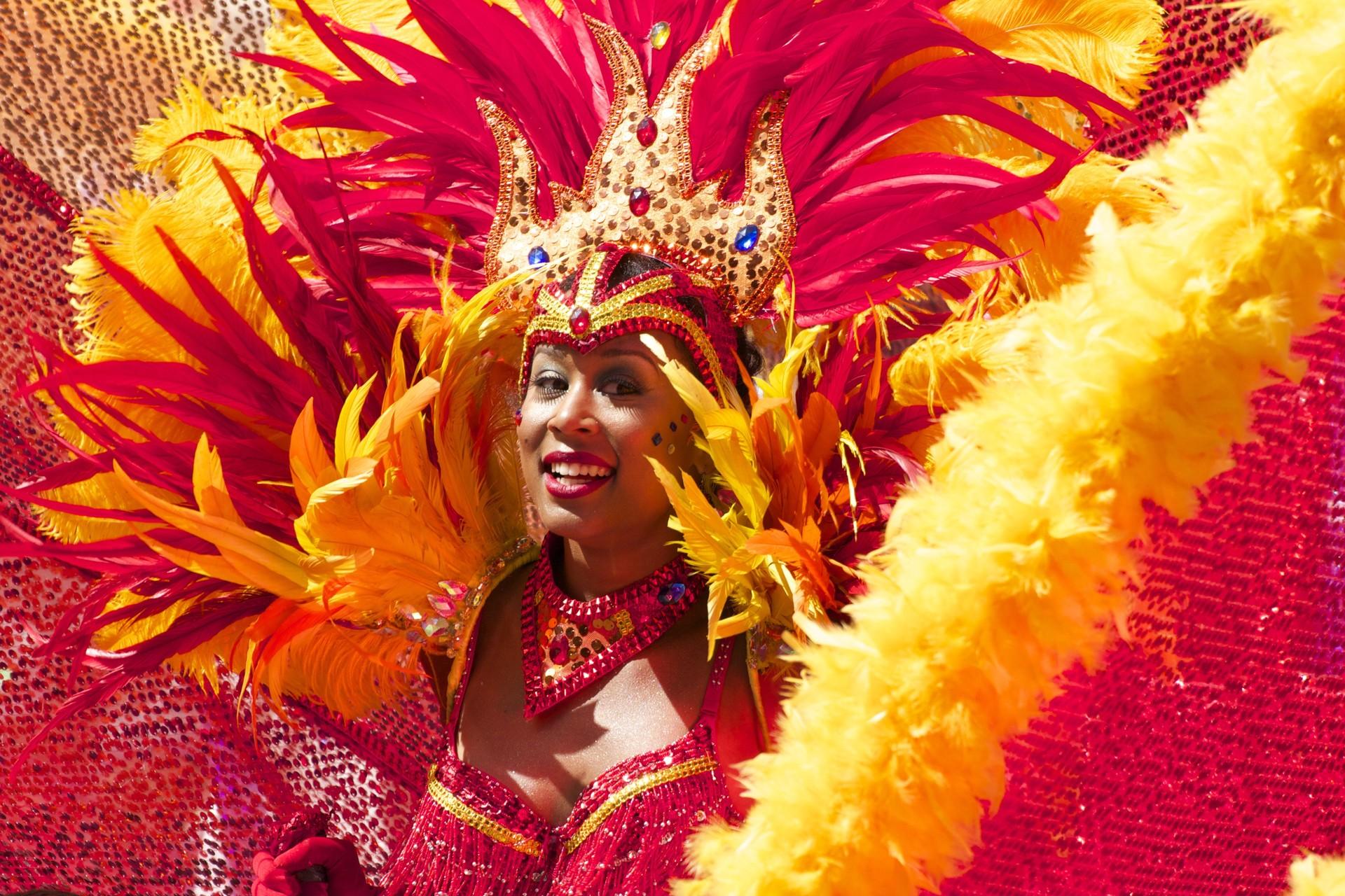Woman celebrating at Rio Carnival