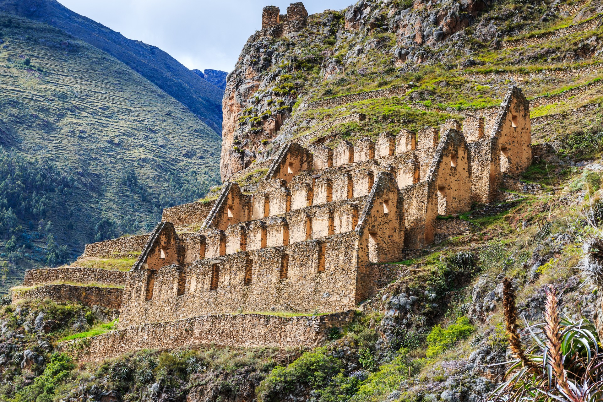 The Inca ruins outside of Ollantaytambo in Peru