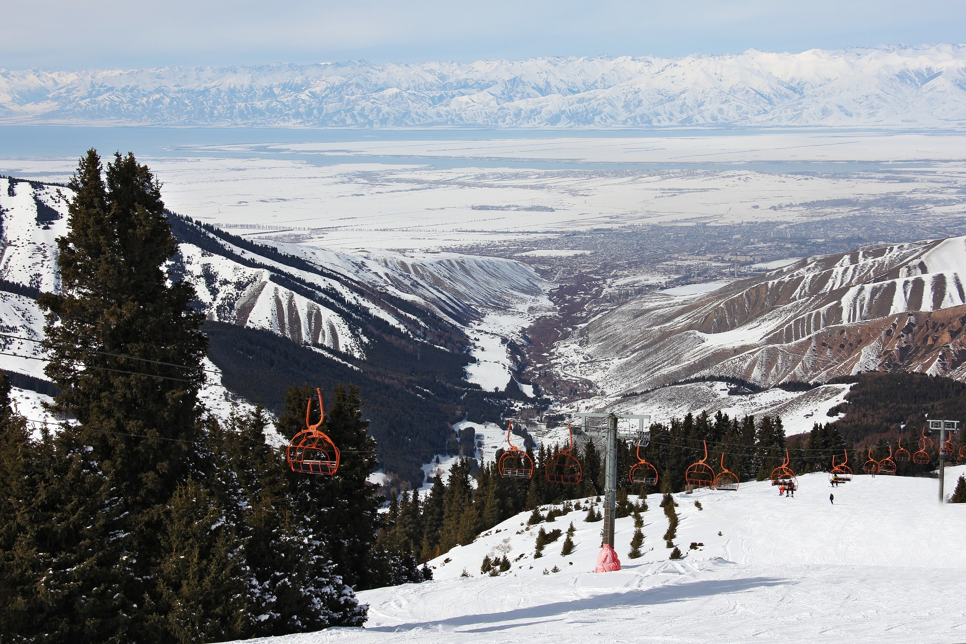 View over valley from Kyrgyz ski resort