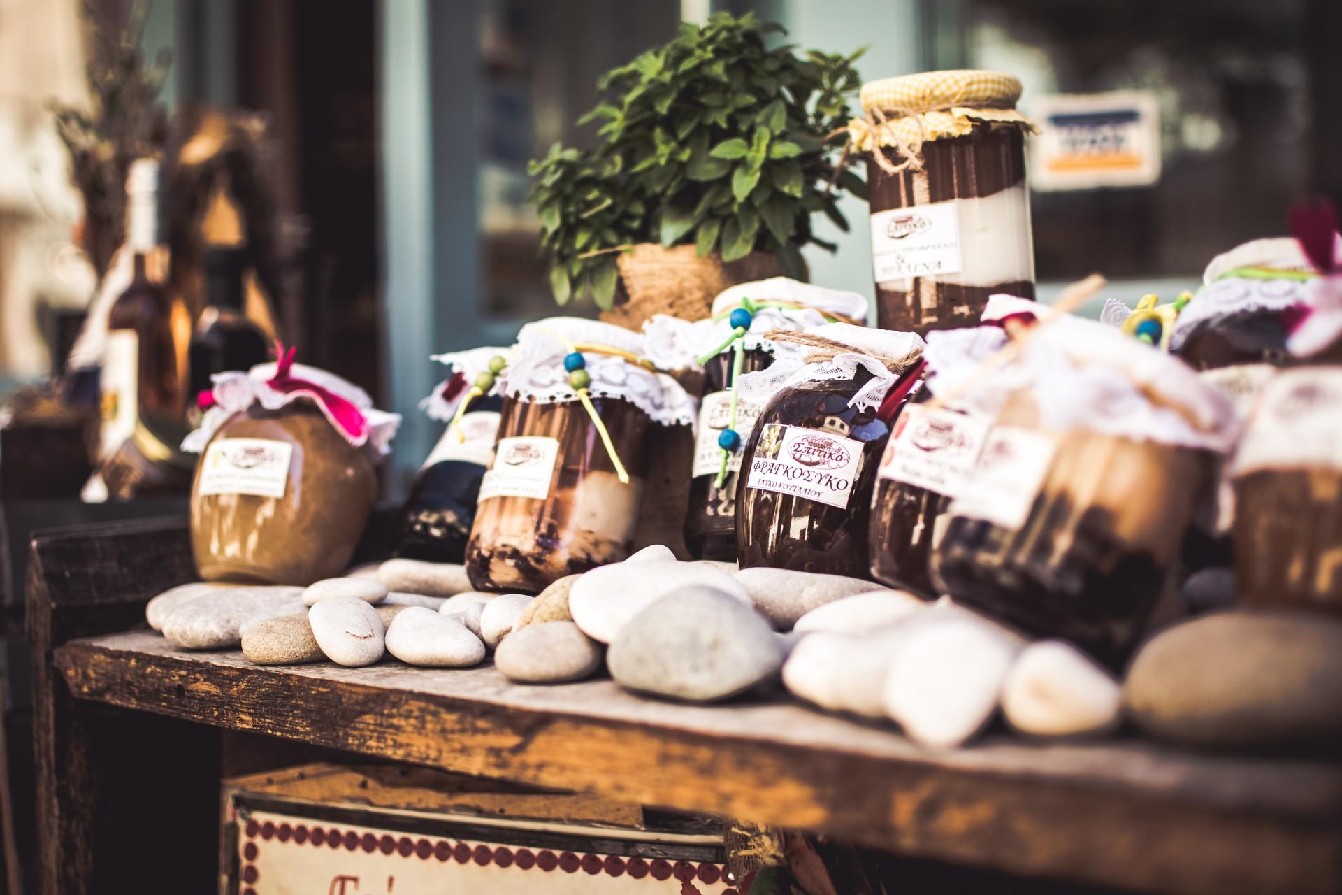 Greece jams market stall