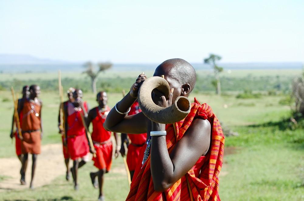 A group of Maasai tribesmen in Kenya