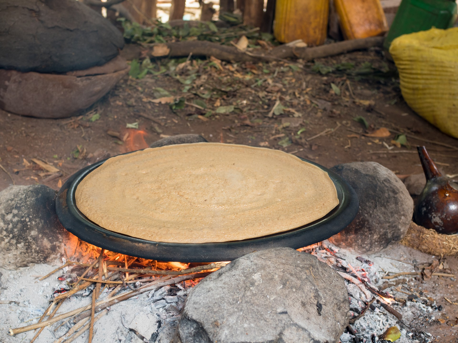 Injera flatbread being cooked in Ethiopia