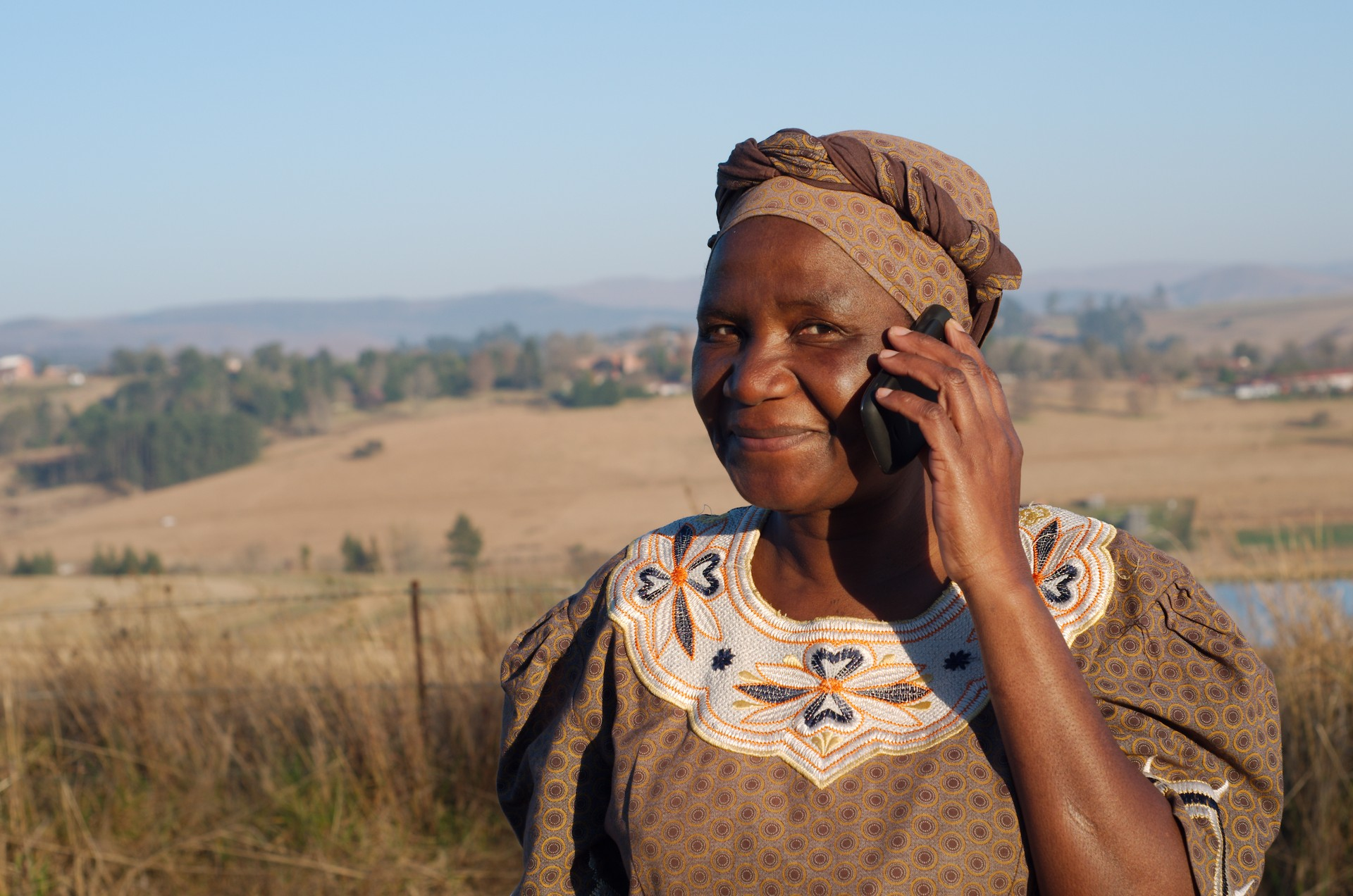 Zulu woman on mobile - South Africa