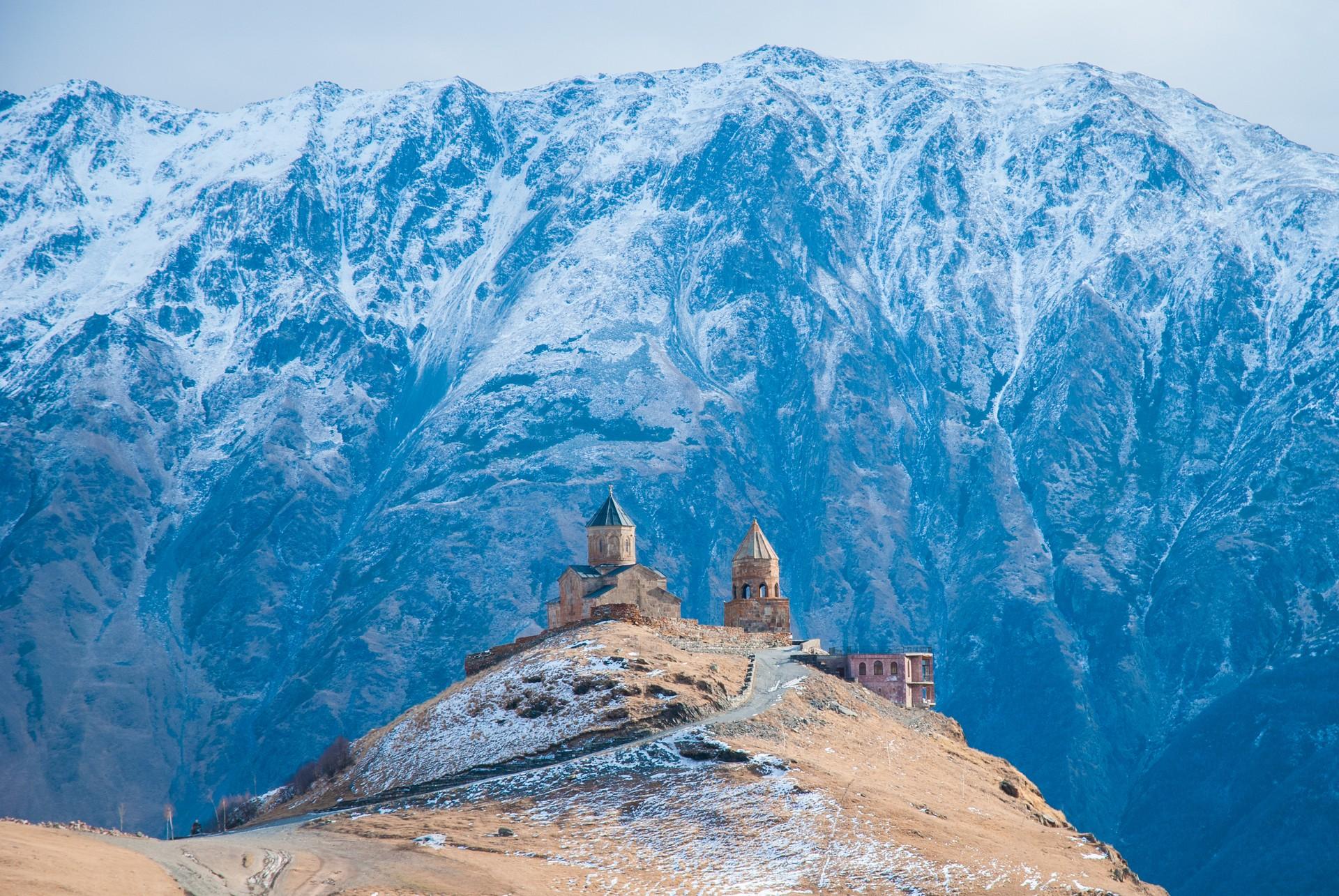 Winter view of Kazbegi, Georgia