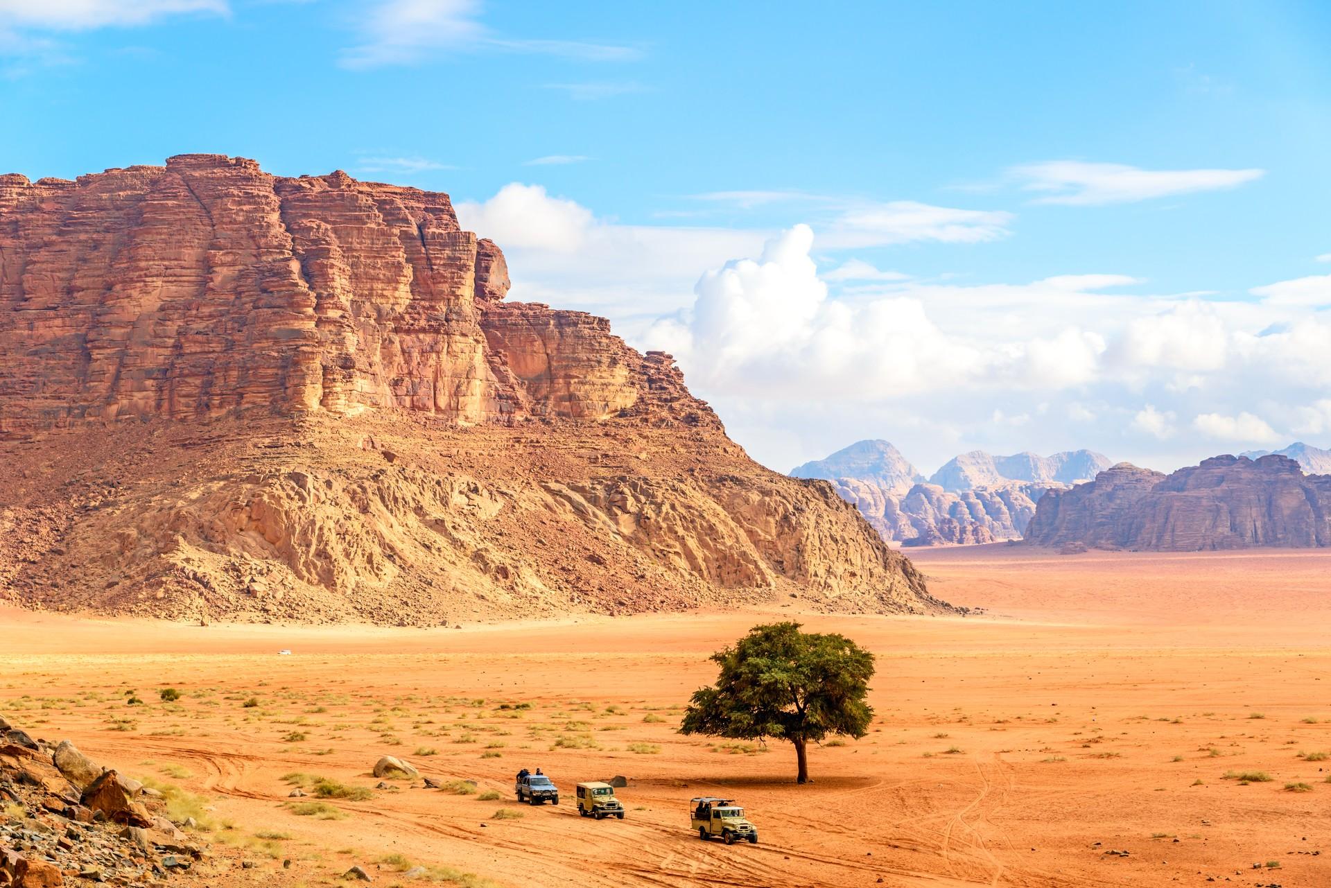 Jeeps going through Wadi Rum, Jordan