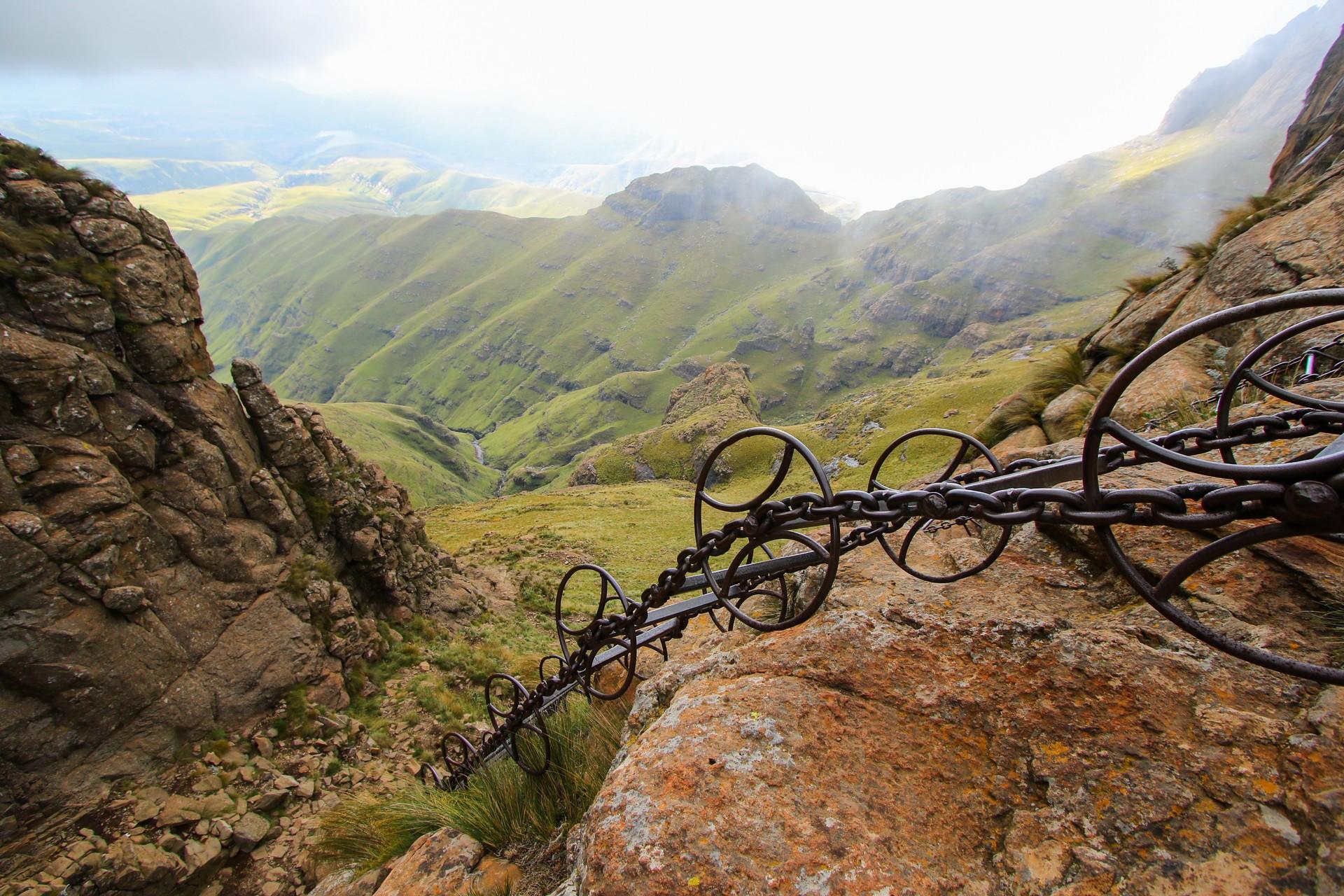 Chain ladders on Sentinal Peak Hike, Drakensberg, South Africa
