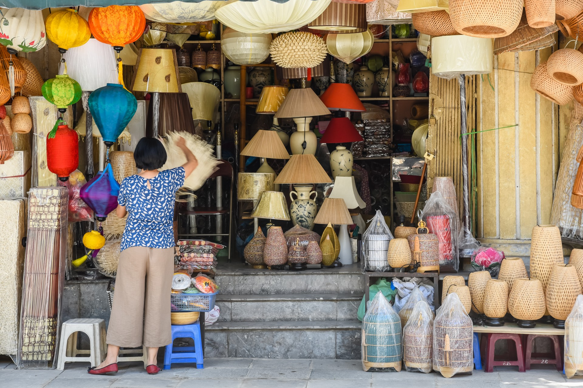 Lampshade stall in Hanoi's Old Quarter