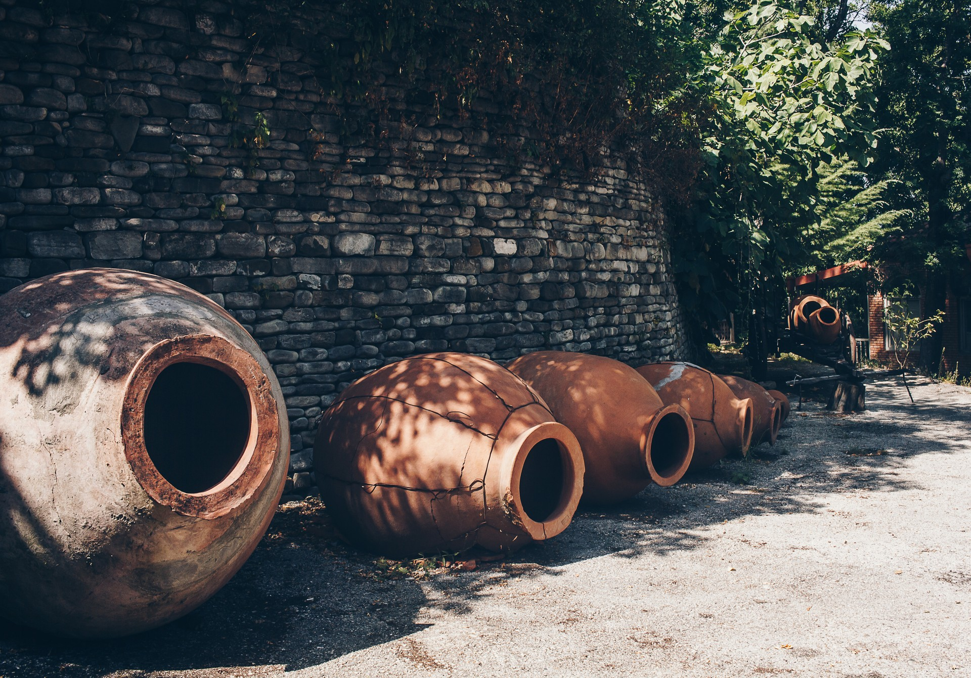 Clay pots for wine making in Georgia
