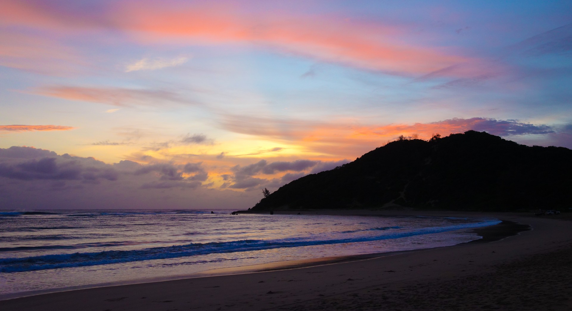 Sunset over Ponta do Ouro beach in Mozambique
