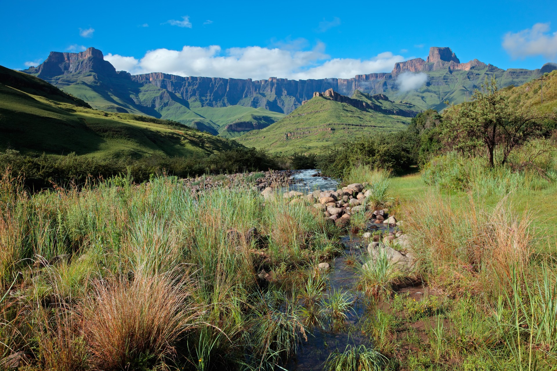 The Drakensberg Mountains in summer, South Africa