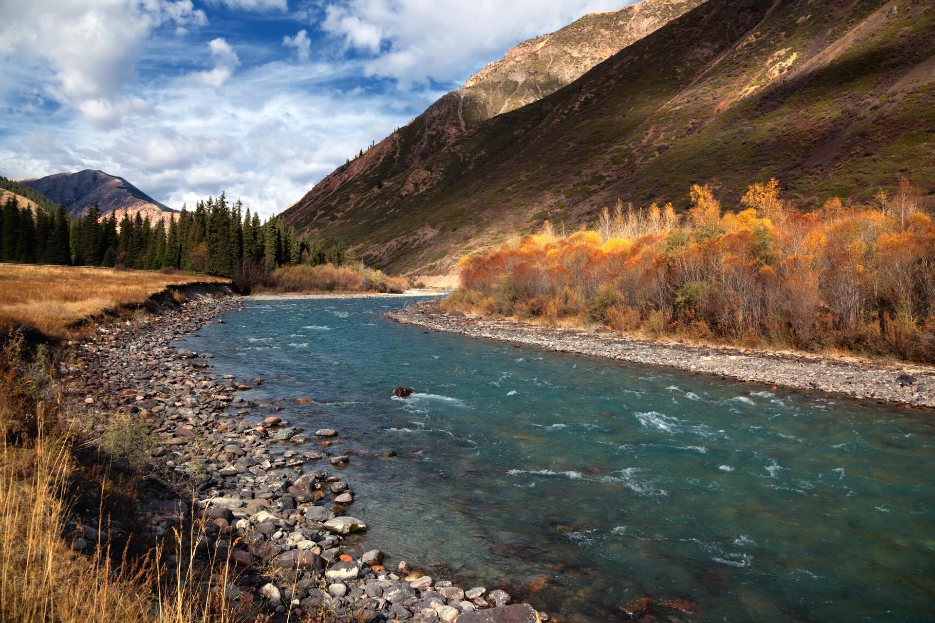 Chilik River in Tien Shan Mountains Kazakhstan