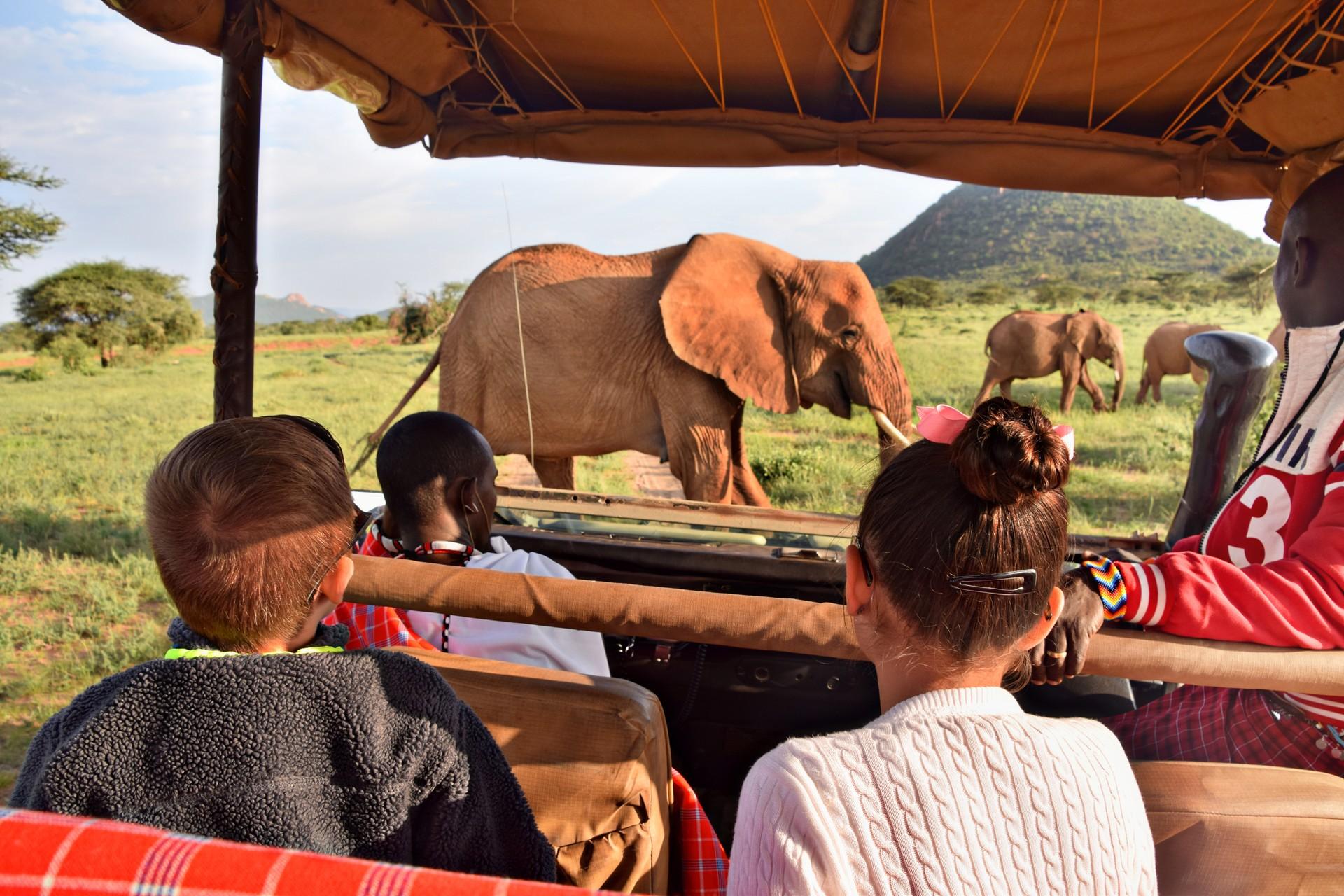 Children on safari in Kenya