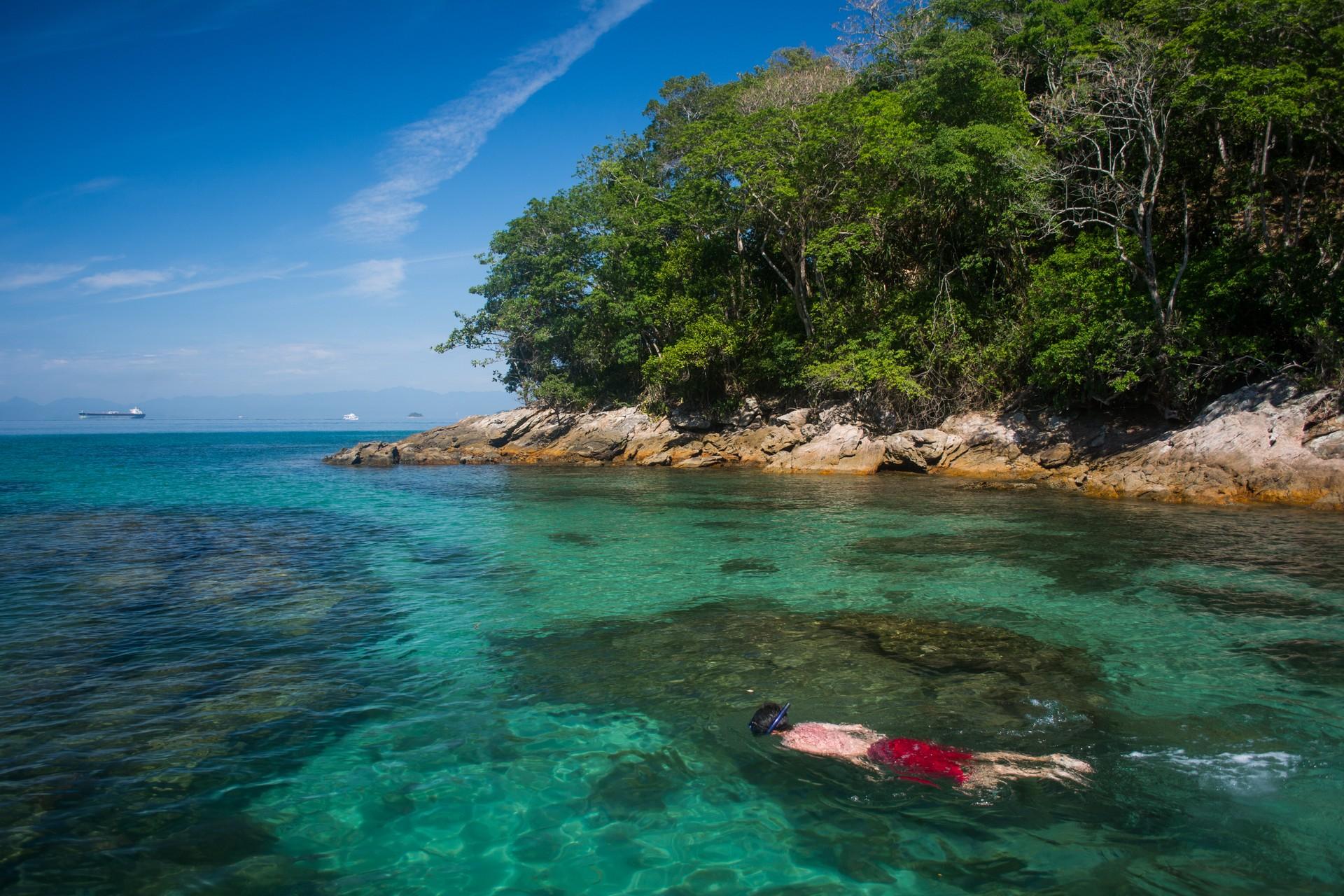 Snorkeller on Ilha Grande Brazil