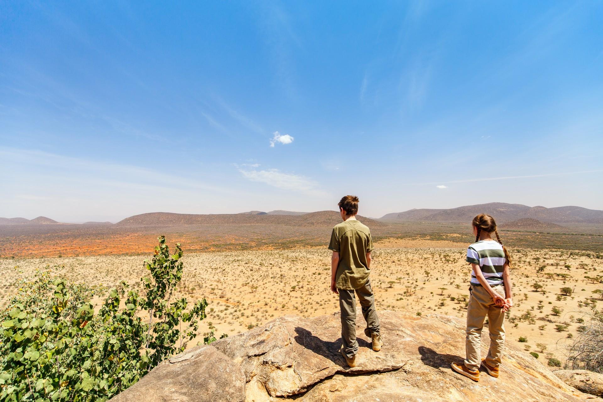 Children on walking safari in kenya