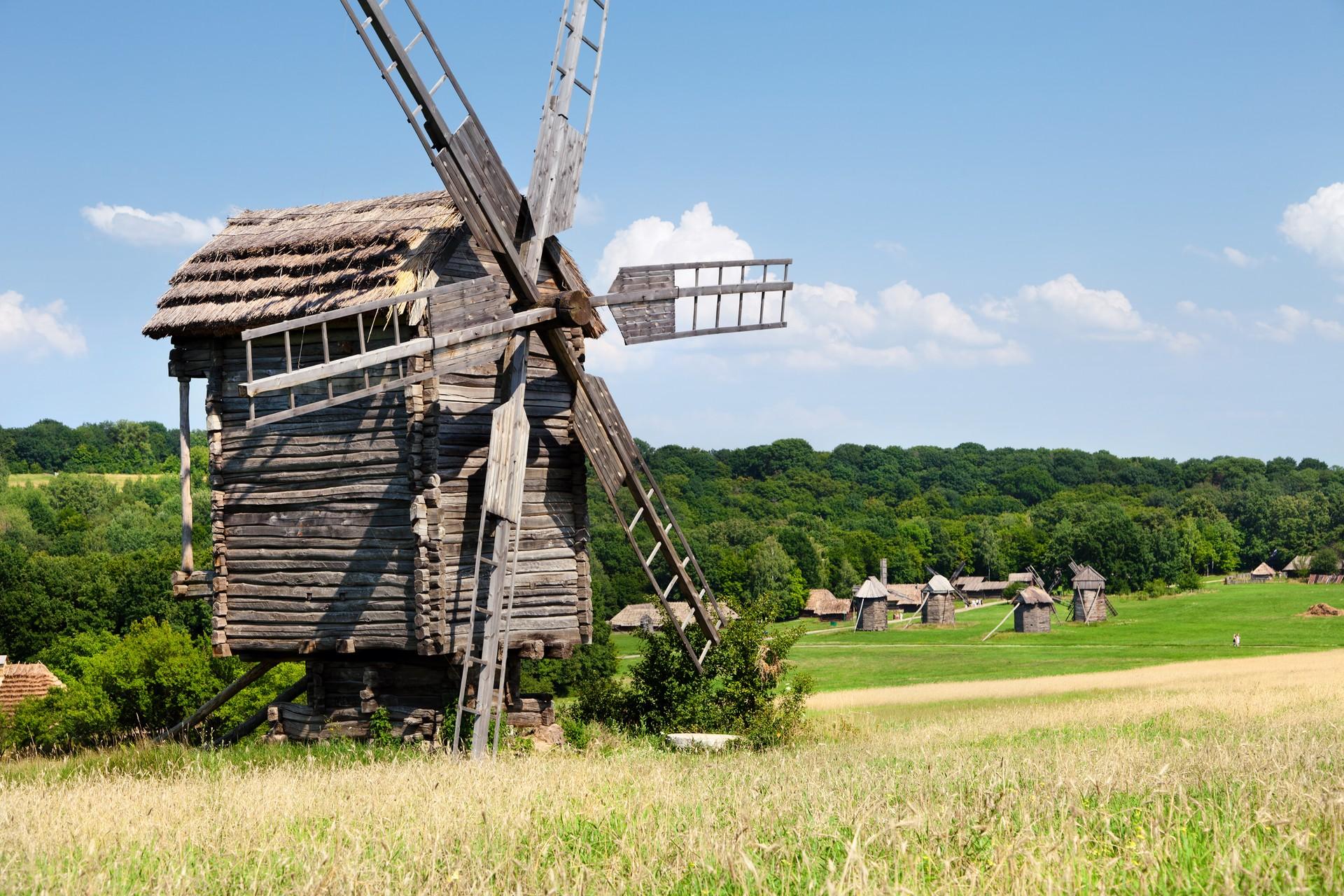 Pirogovo historic wooden windmill Russia