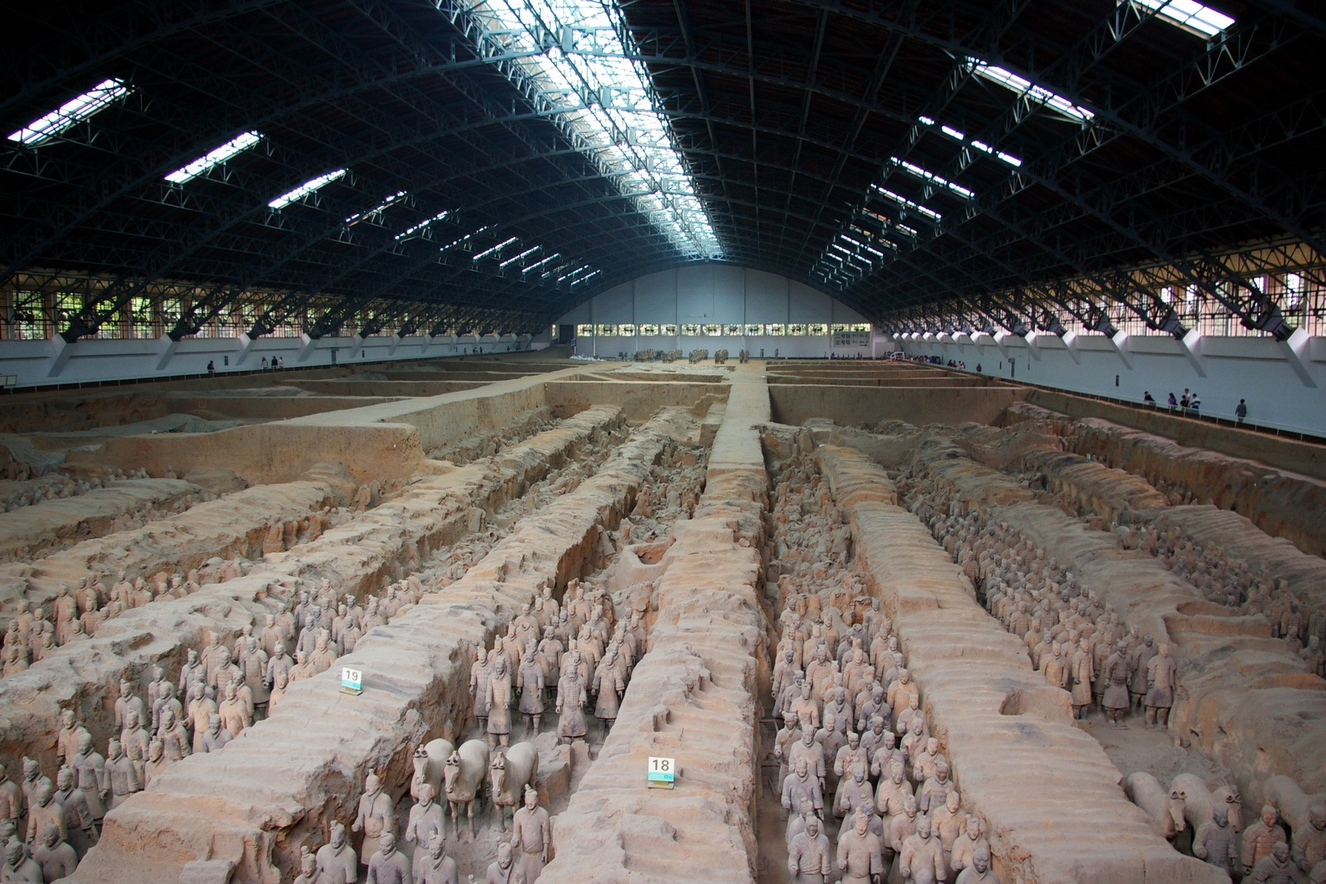 Terracotta army in warehouse in Xian China