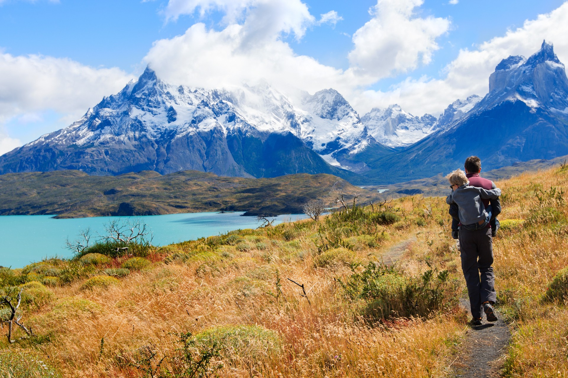 A father and son hiking through Patagonia