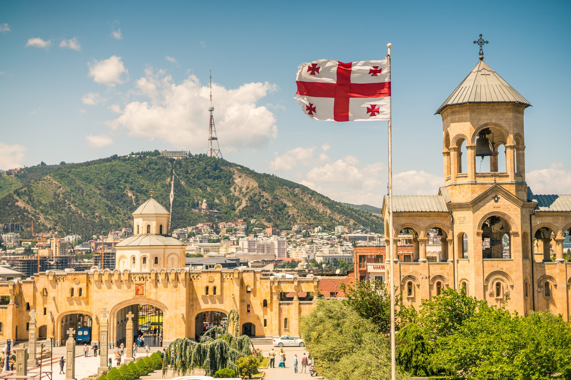 Georgian flag flying in Tbilisi