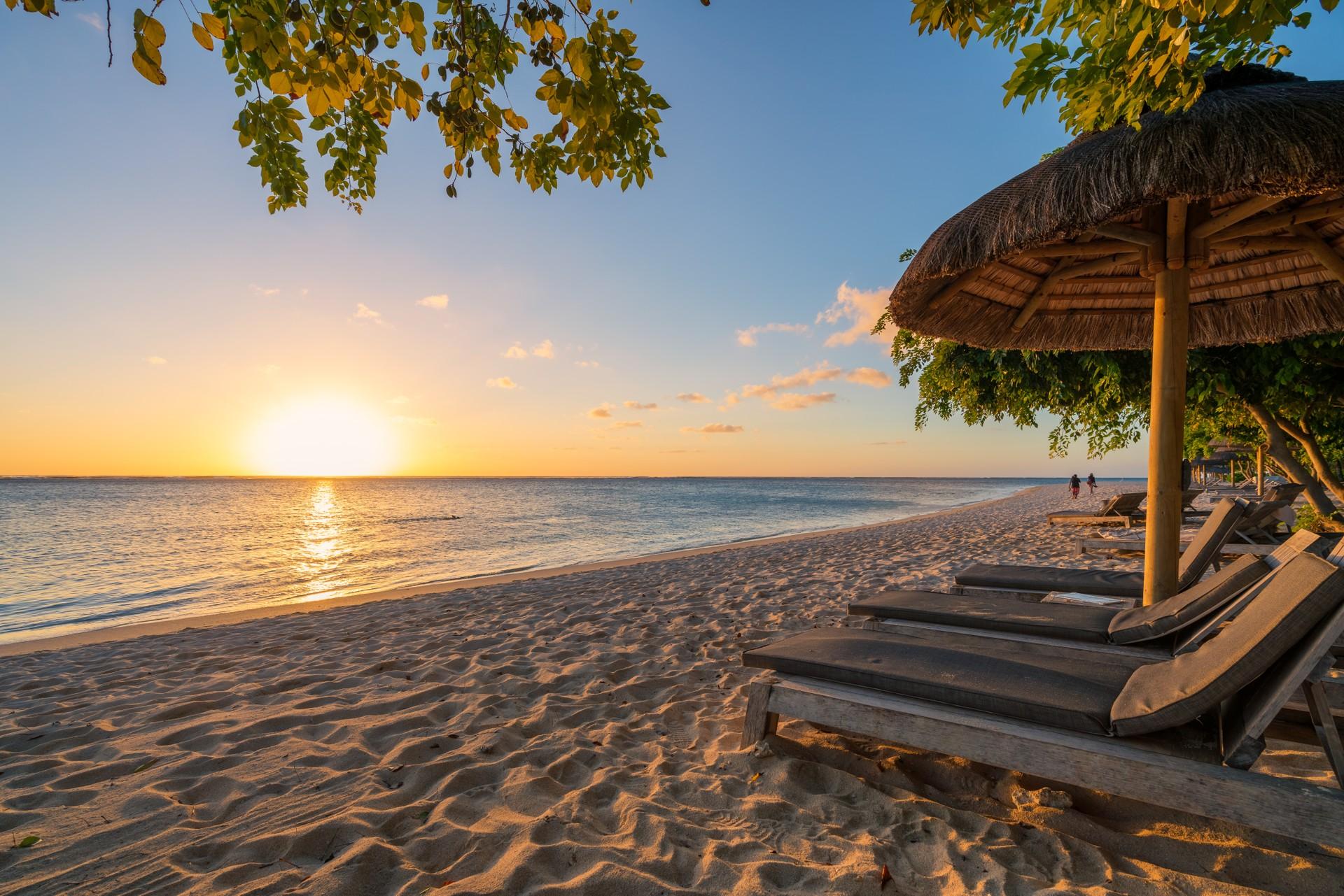 Mauritius beach at sunset