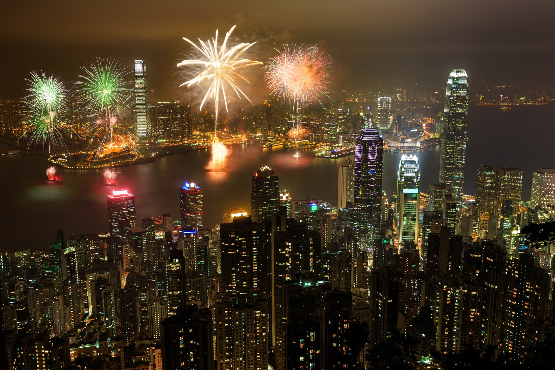 Fireworks at New Year in Hong Kong
