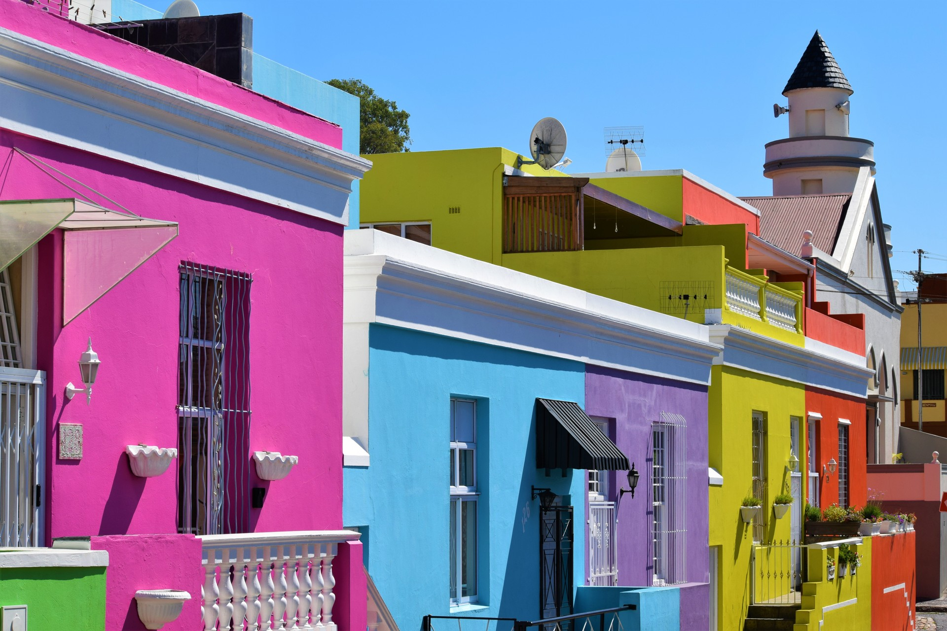 Colourful houses in Cape Town's Bo-Kaap neighbourhood