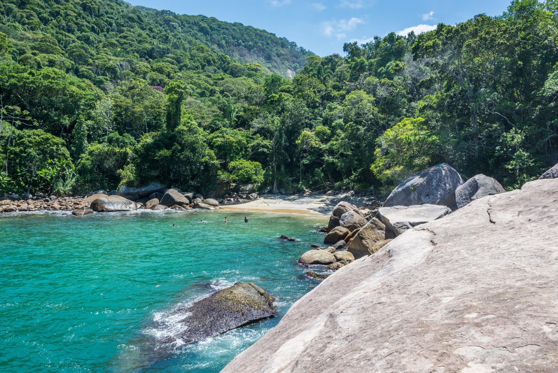 Hidden beach on Ilha Grande Brazil