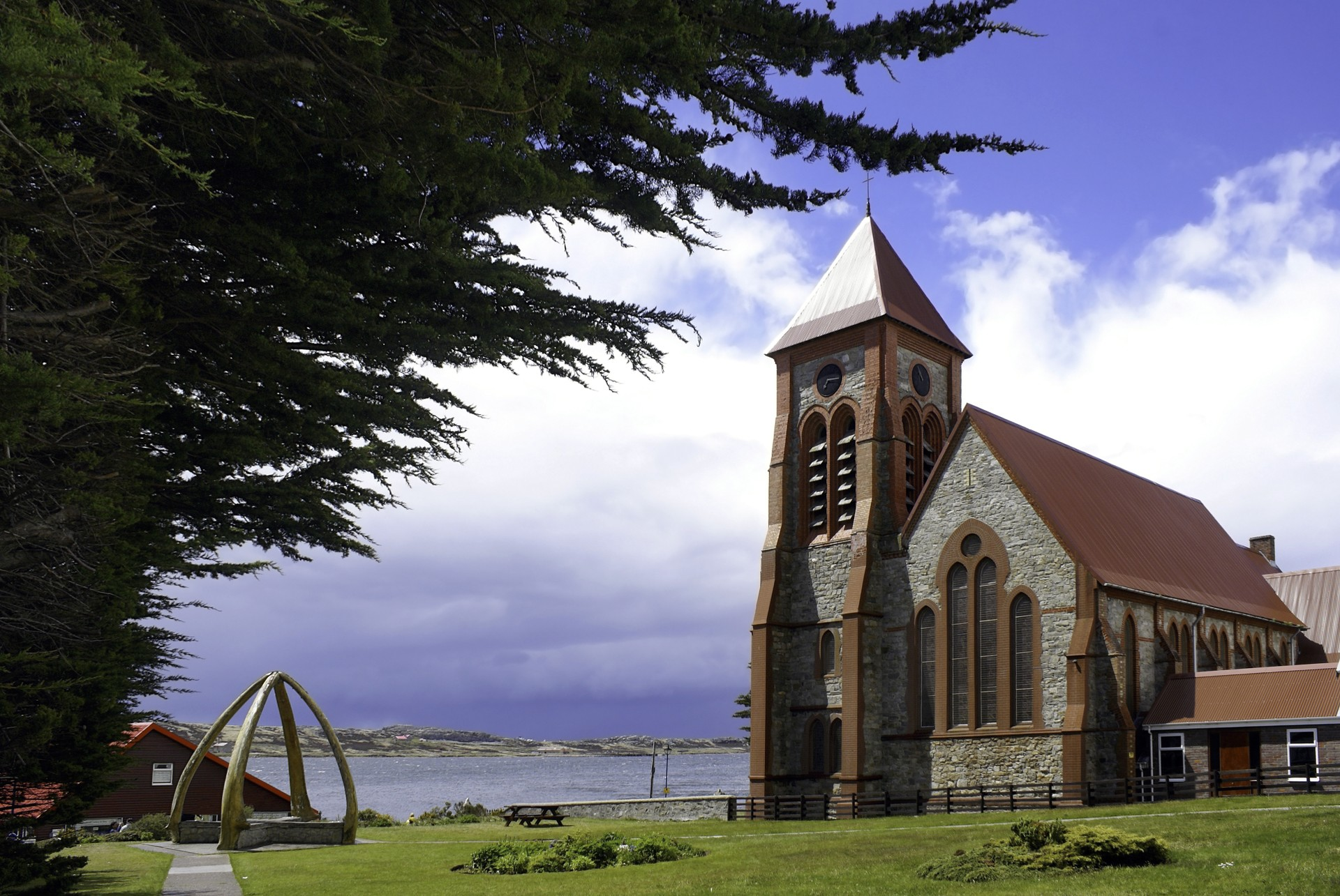 Stanley Cathedral and whale bone arch