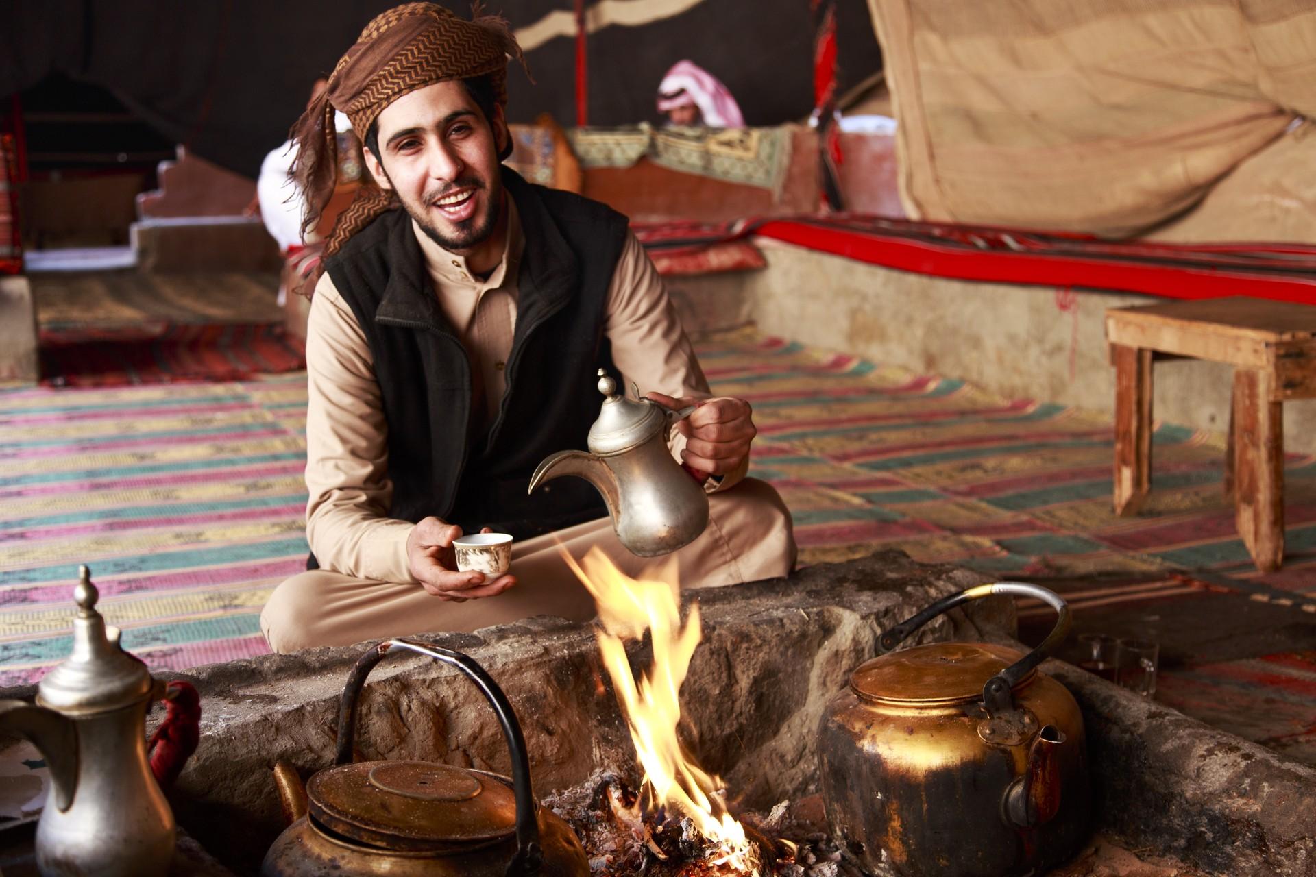 Bedouin man in traditional tent in Jordan