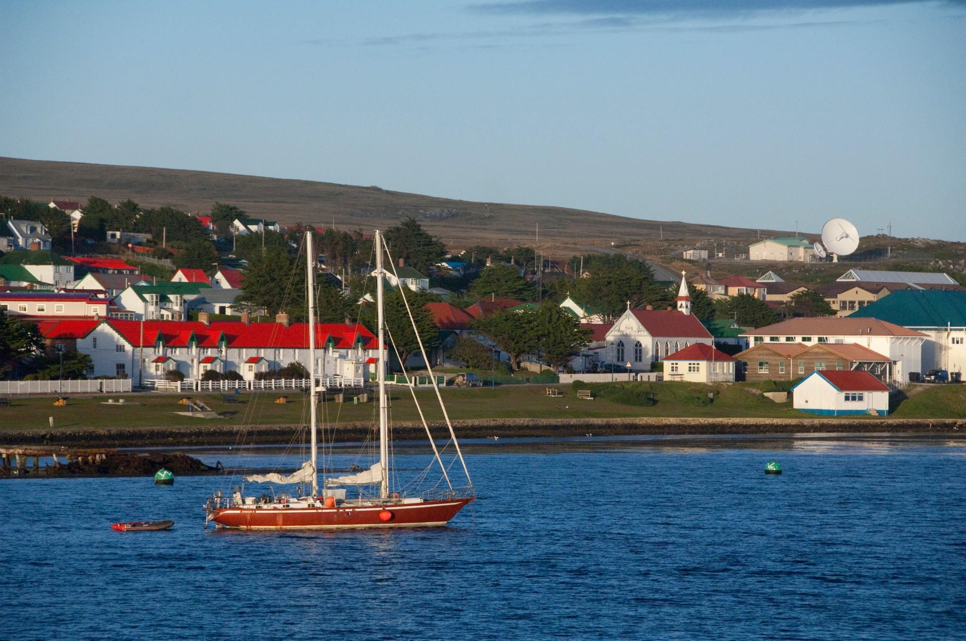 Boat moored in Stanley harbour falklands