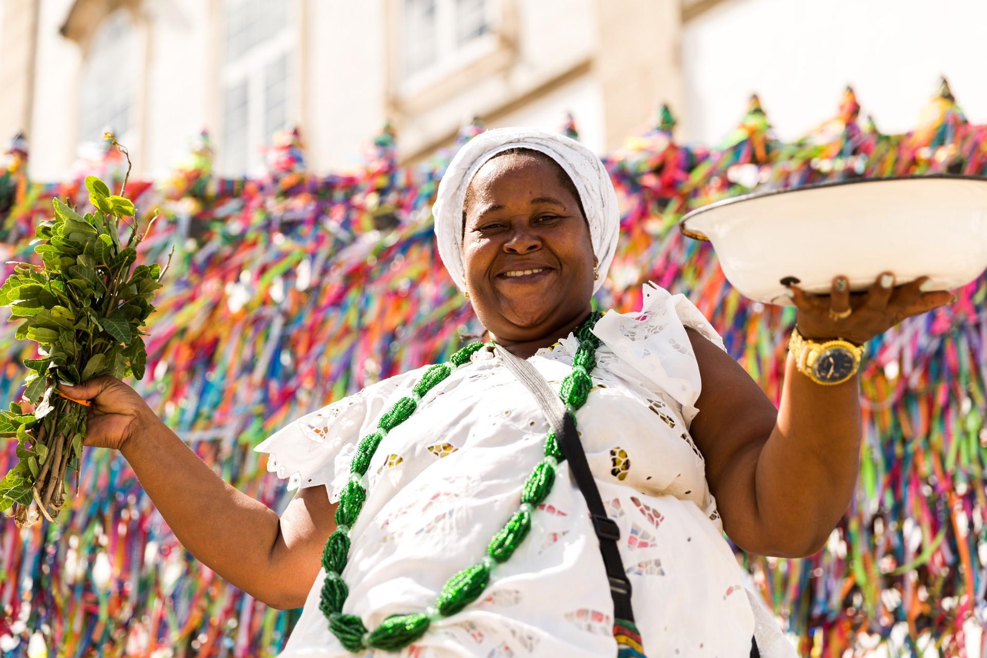 A priestess at the Lavagem do Bonfim celebration