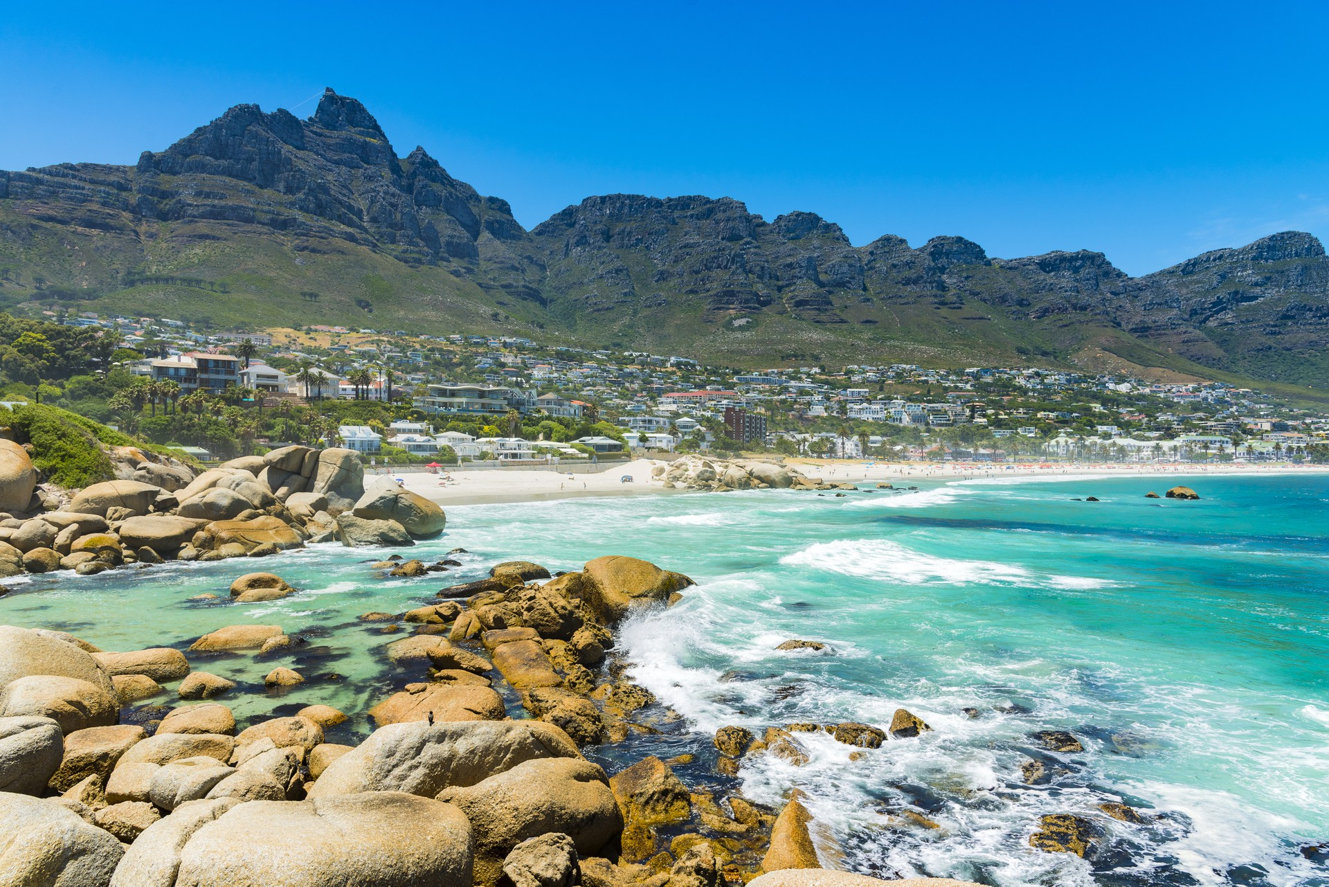 The turquoise waters of Camps Bay