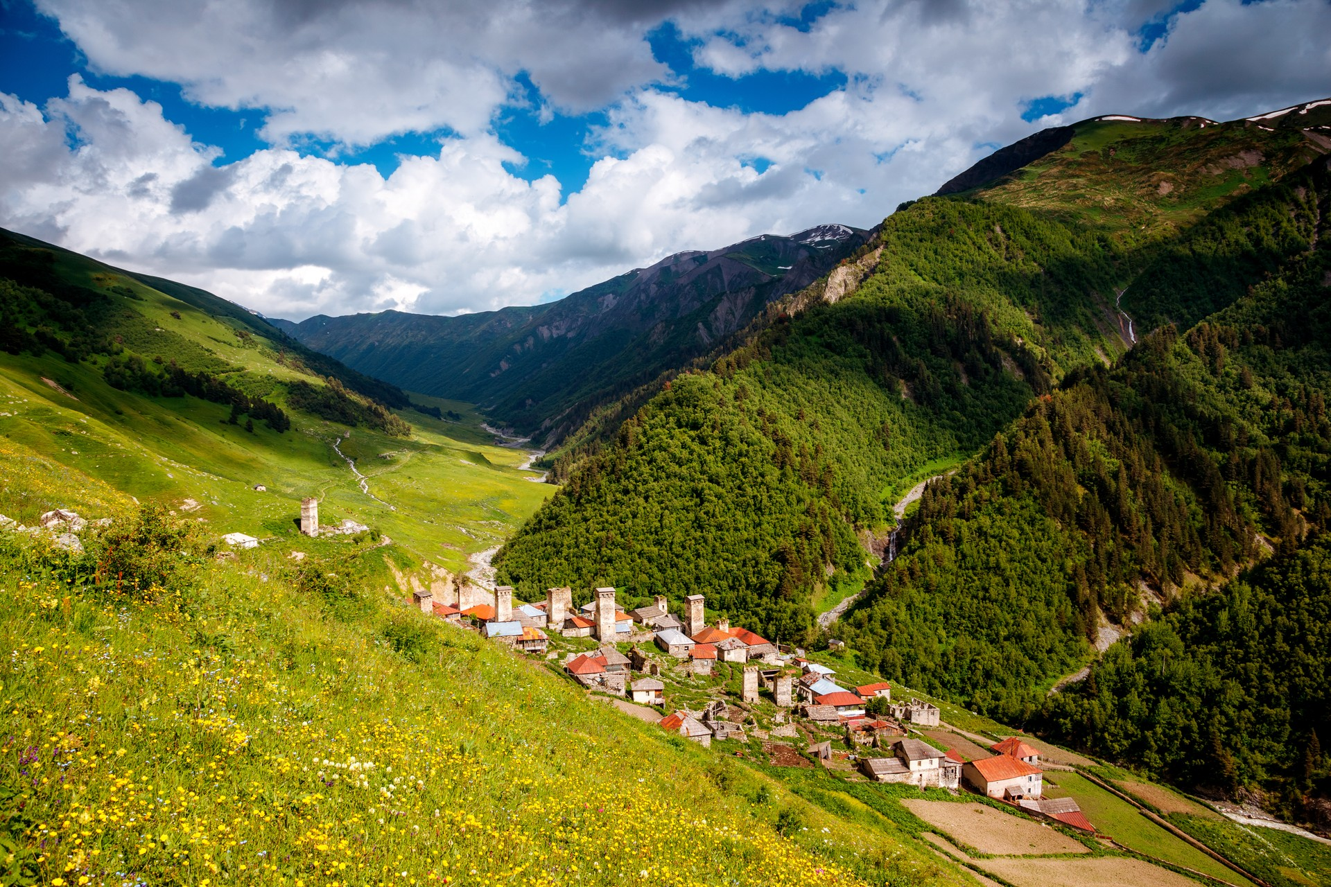 Picturesque villages are dotted throughout the Caucasus region
