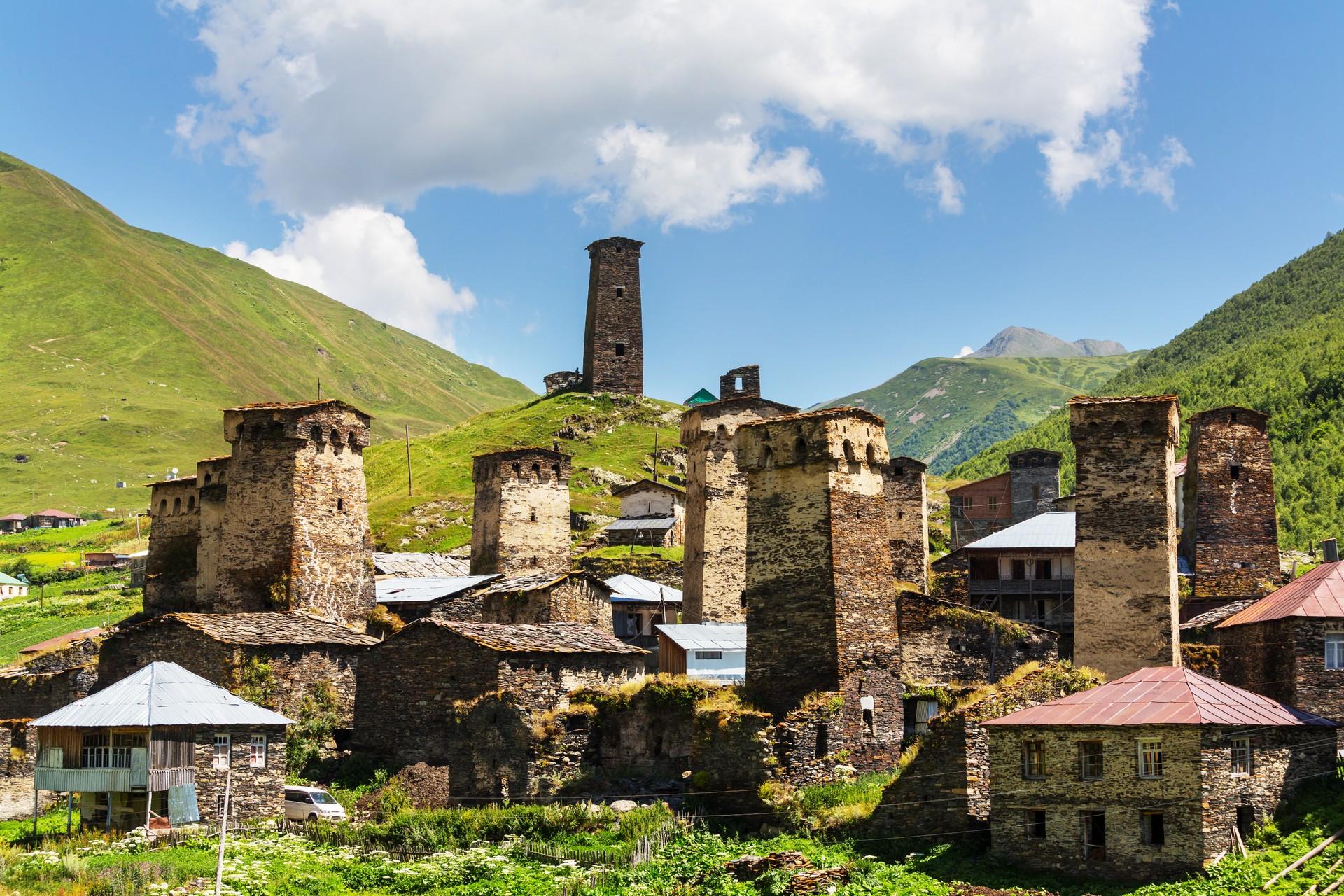 The picturesque village of Ushguli in the Svaneti region of Georgia