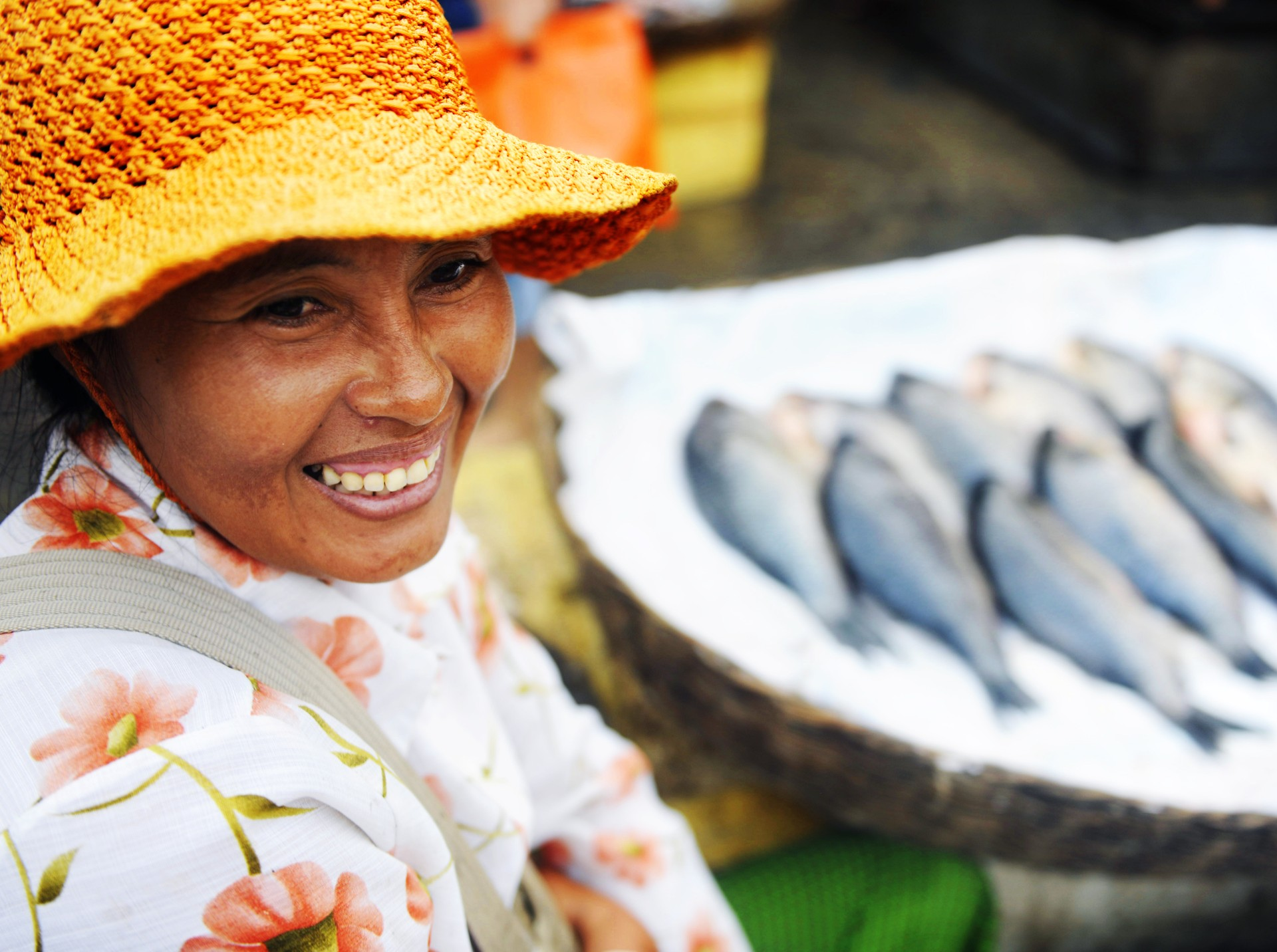 Lady selling fish in Cambodia