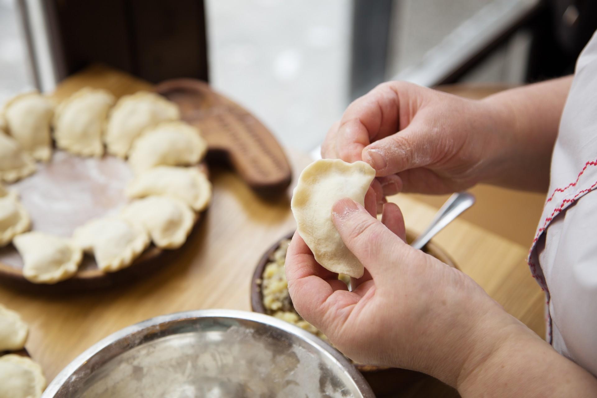 Countries that celebrate Christmas in January:  Pierogi making