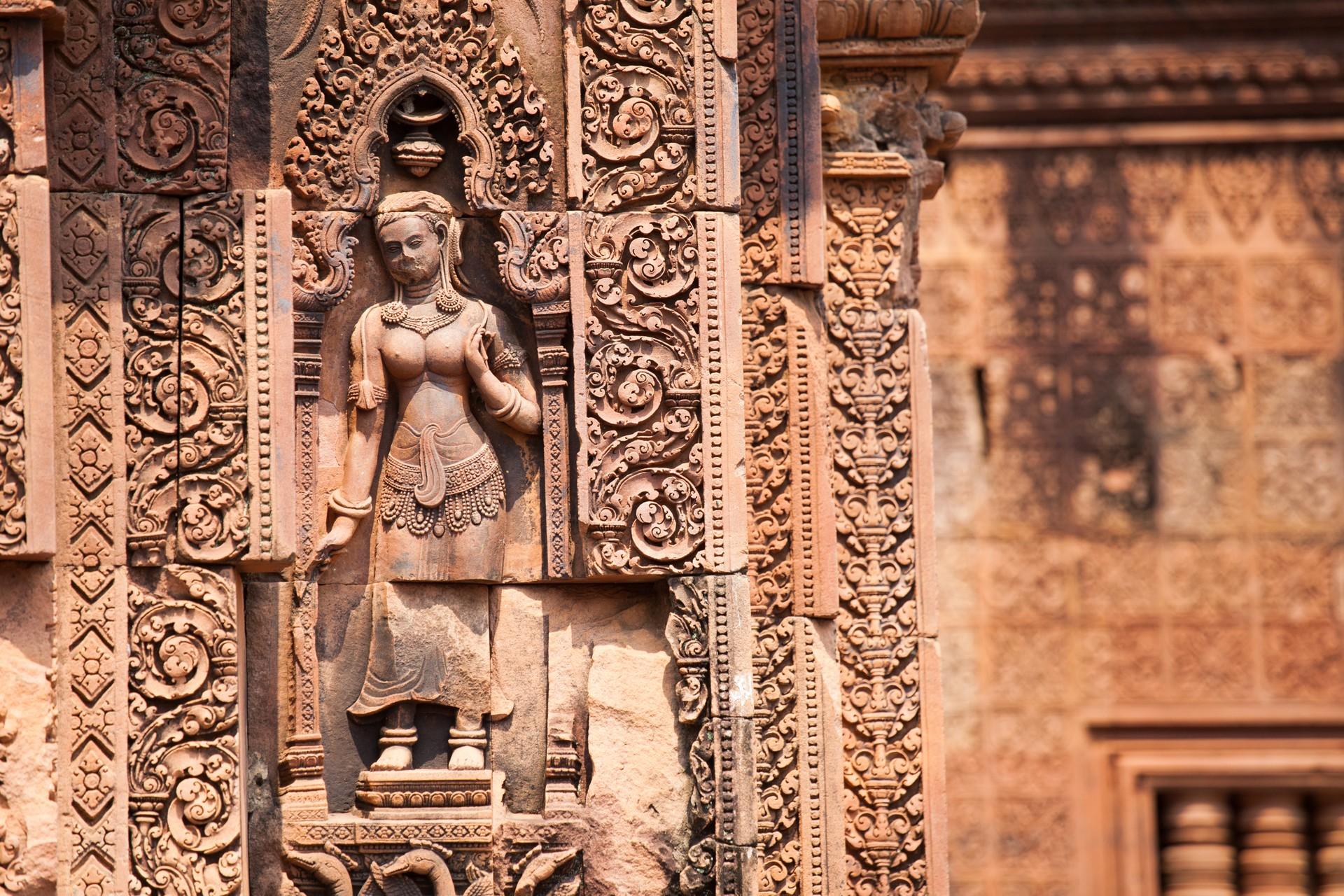 Aspara carvings in Banteay Srei, Cambodia