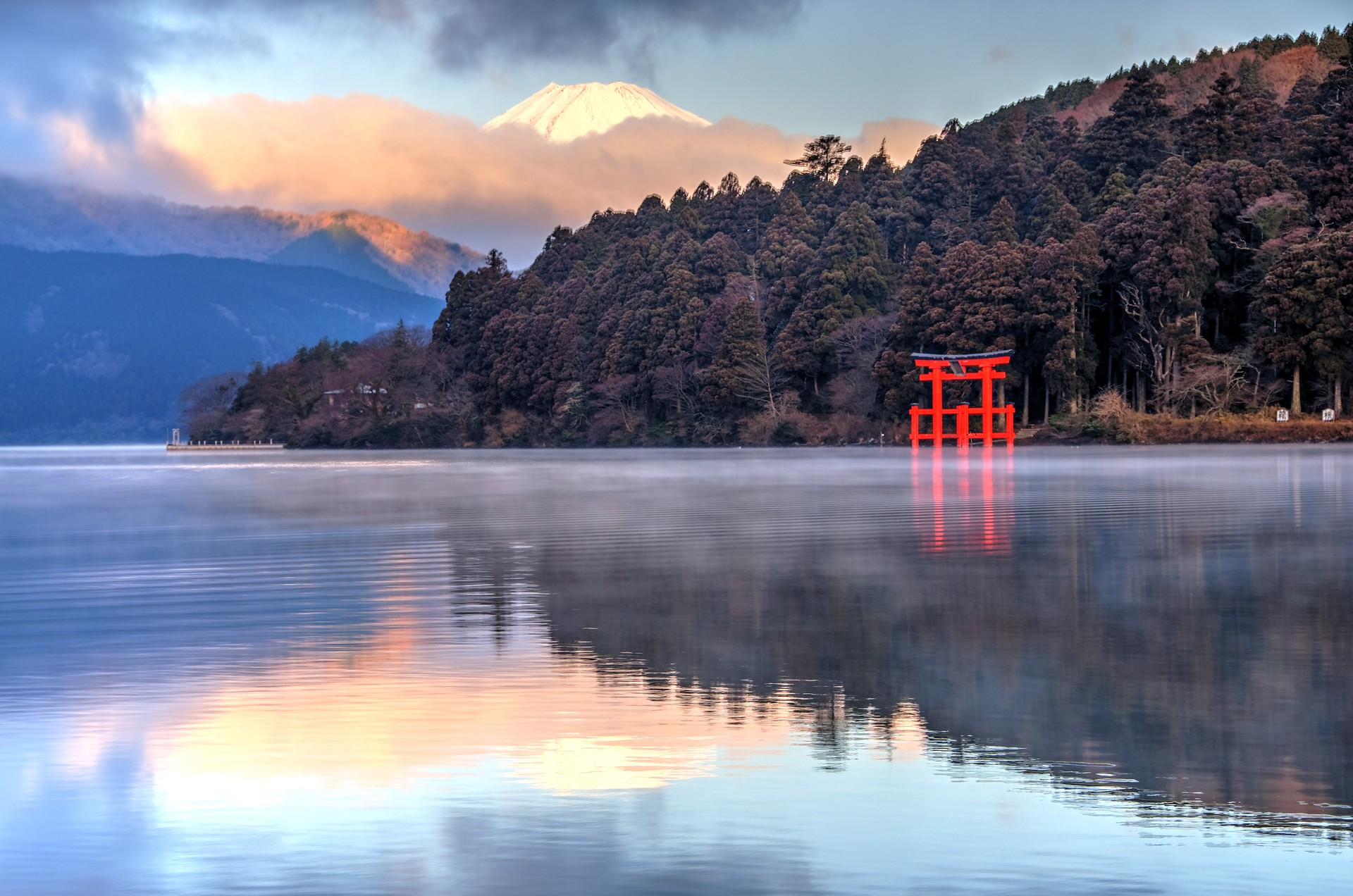 Mount Fuji from across the lake in Hakone, Japan
