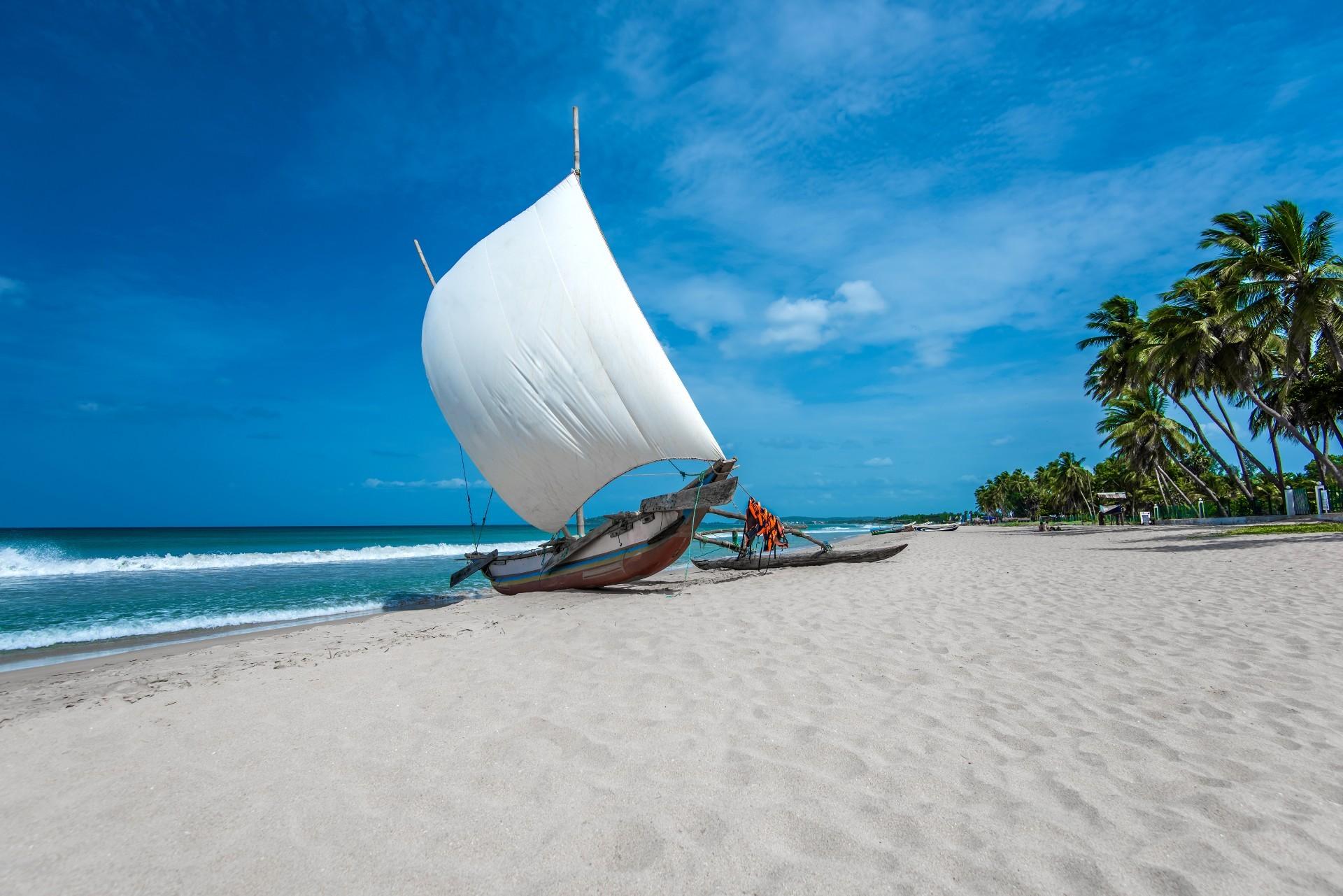 Sri Lanka holidays: boat on beach