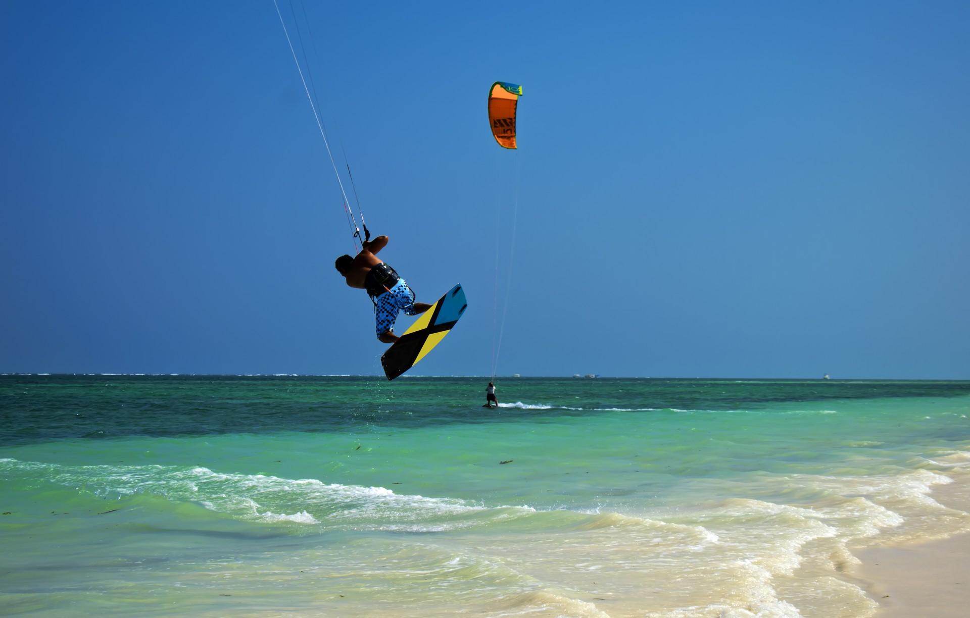 Diani beach kitesurfer, Kenya`