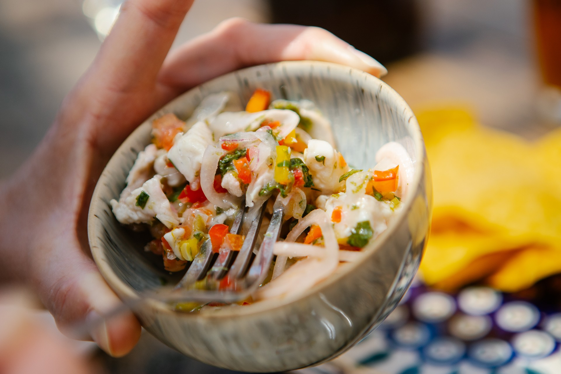 Fresh ceviche being prepared in Peru