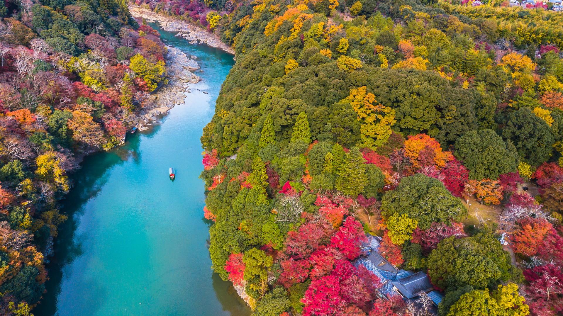 The beautiful autumn colours of Arashiyama, Japan