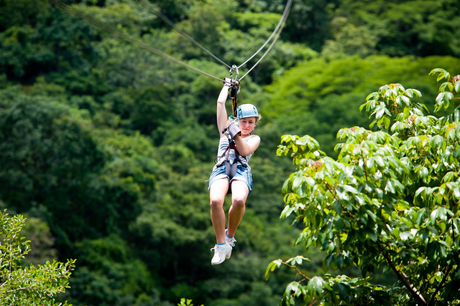 Zip lining in the Costa Rican rainforest