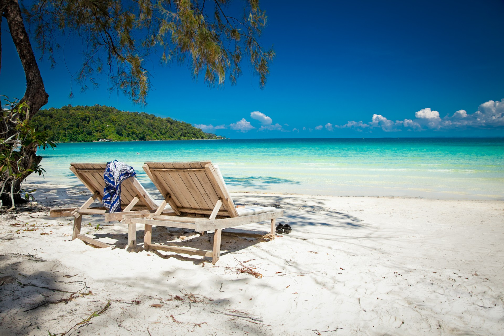 Beach chairs on Koh Rong, Cambodia