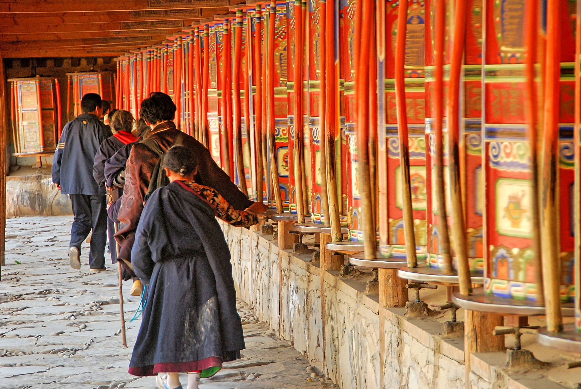 Prayer wheels in Labrang Monastery