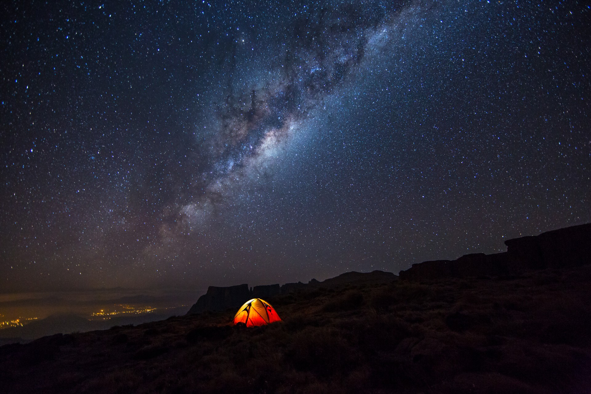 Camping on the Amphitheatre, Drakensberg, South Africa