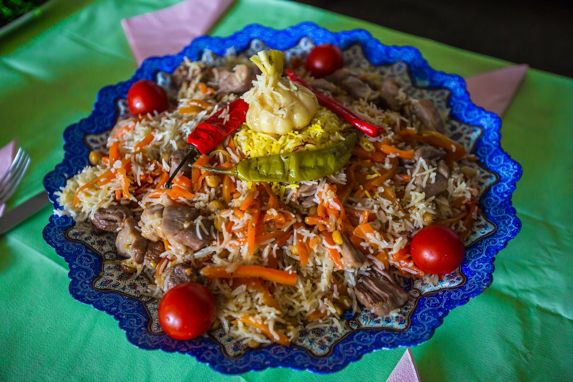 Plov, traditional Central Asian dish