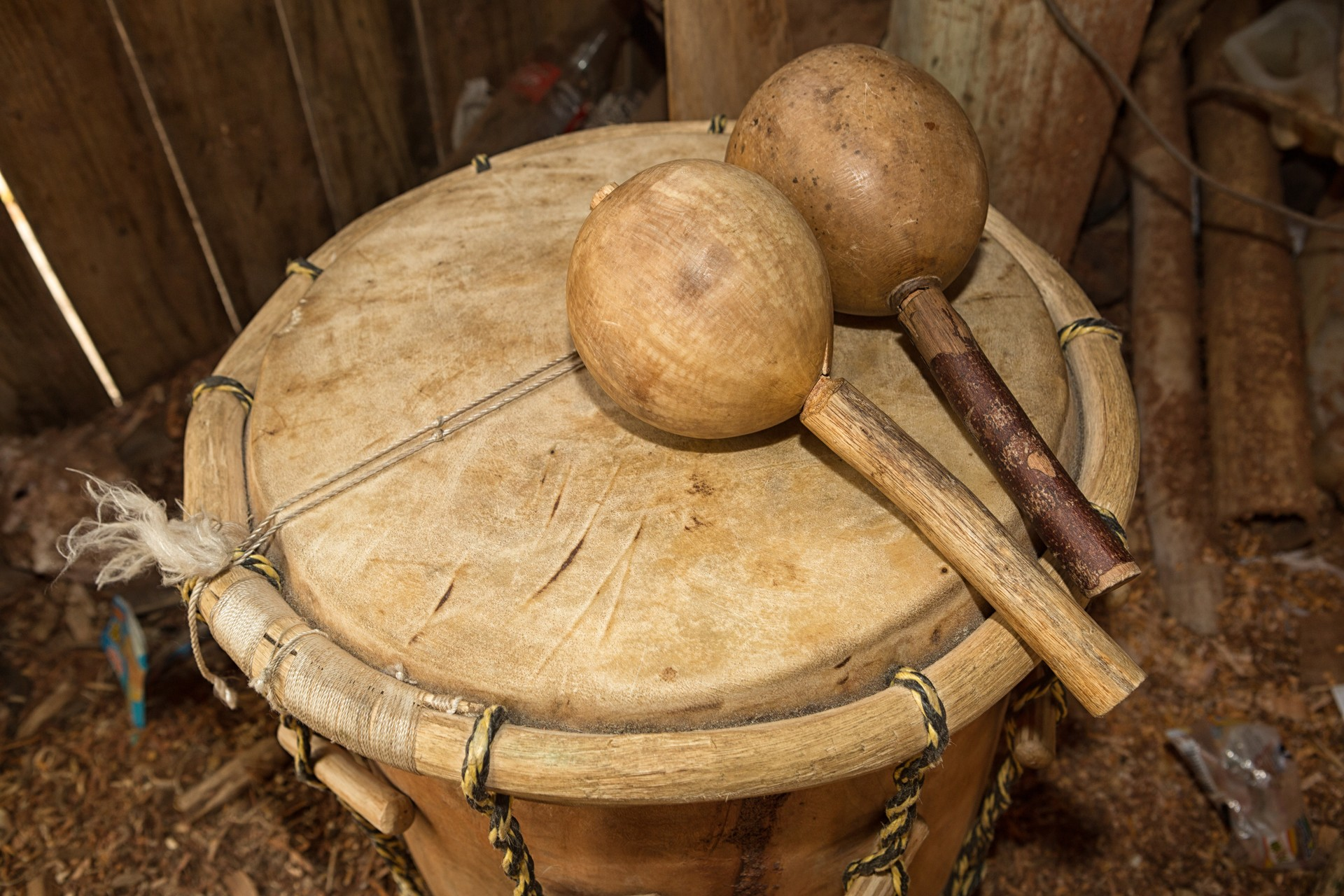 A traditional drum played by the Garifuna community in Belize