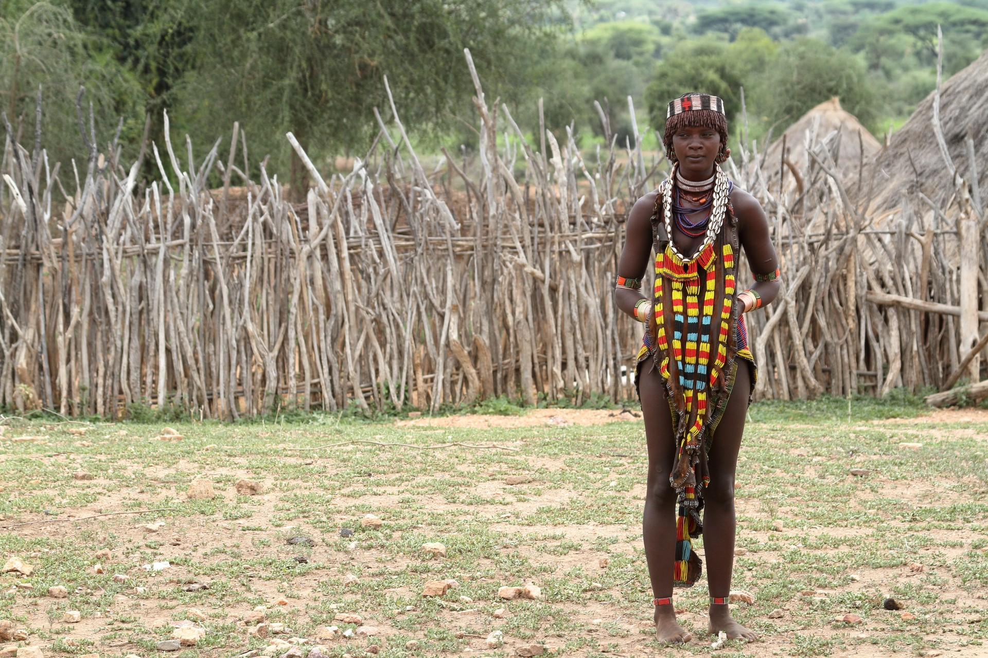 A young tribeswoman in the Omo Valley, Nicaragua